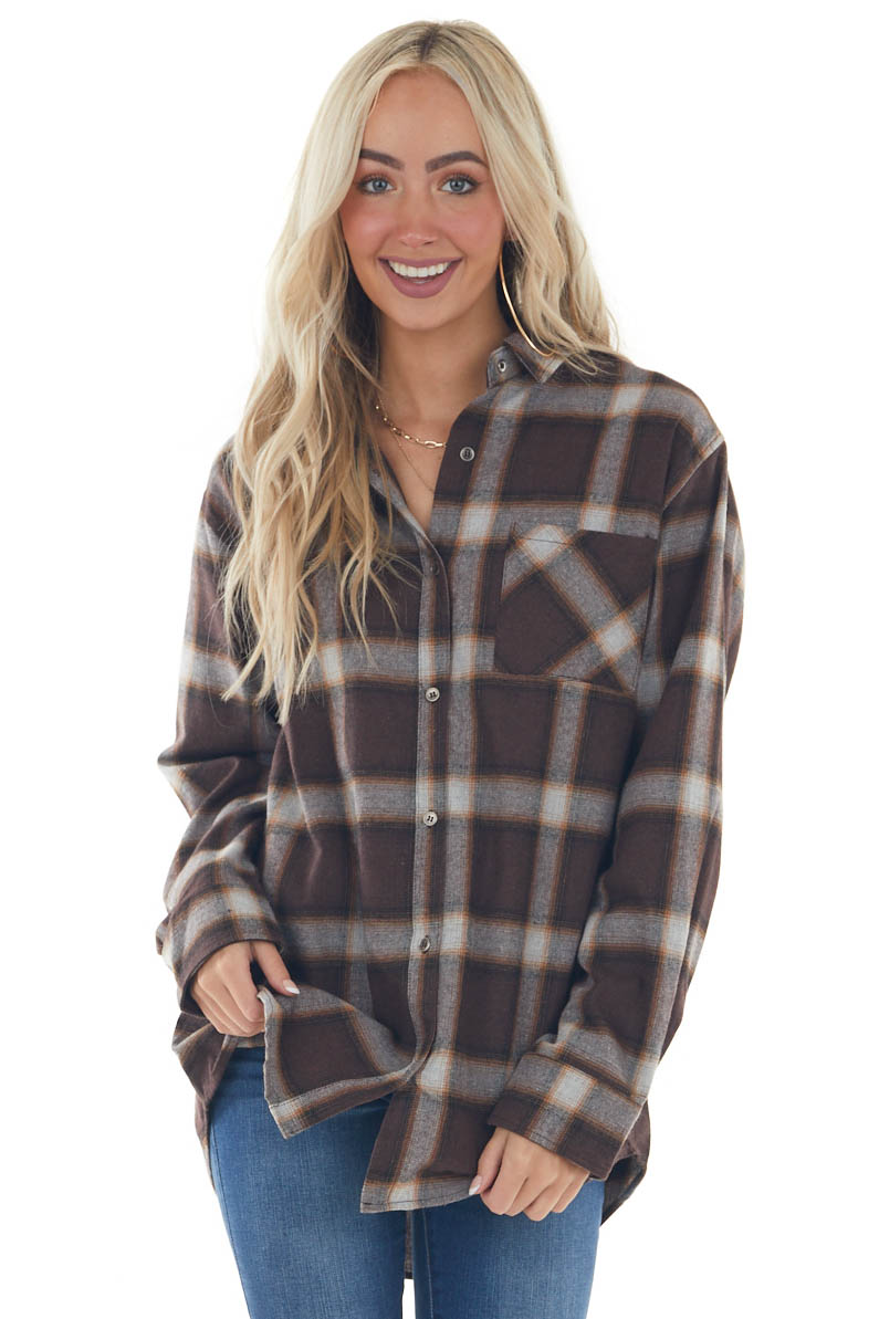 Chocolate Plaid Curved Hem Button Down Flannel