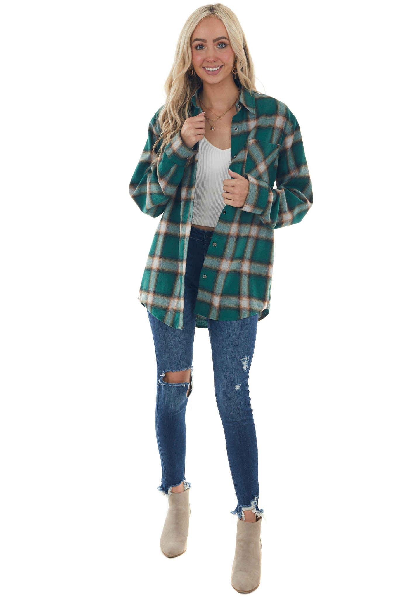 Forest Plaid Curved Hem Button Down Flannel