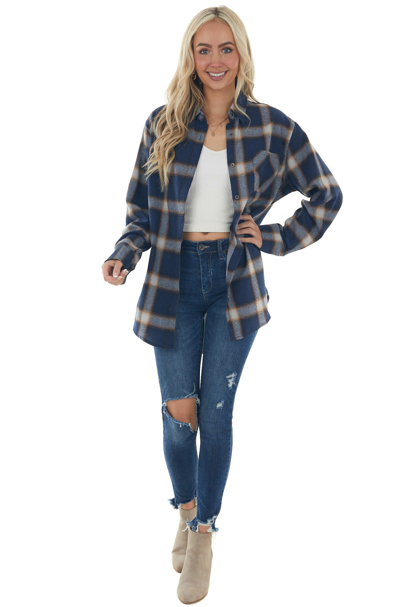 Navy Plaid Curved Hem Button Down Flannel