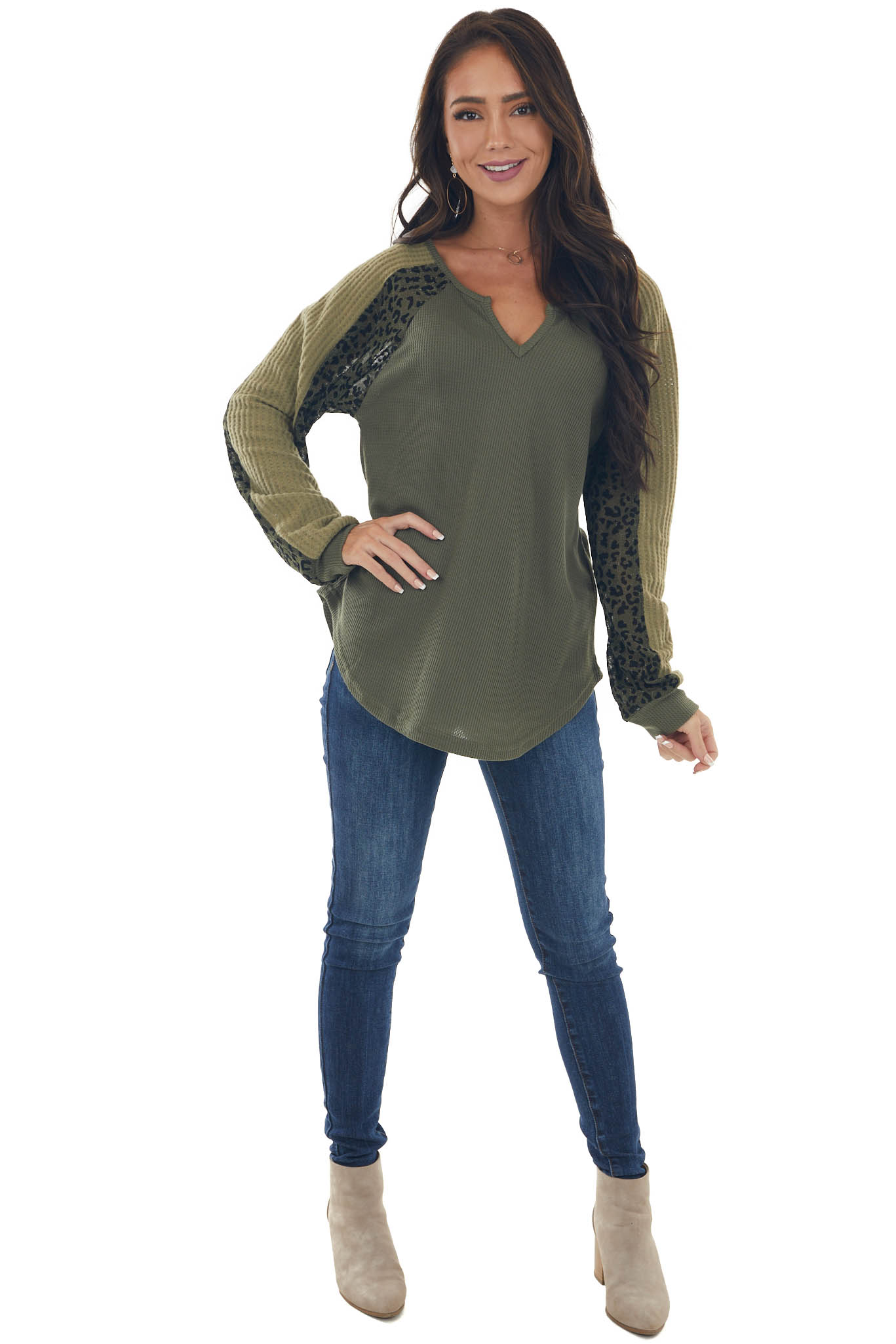 Olive Thermal Leopard Contrast Notch Neck Top