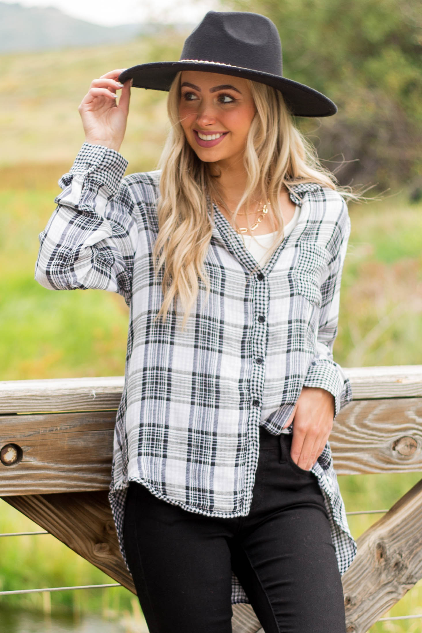 Black and Ivory Plaid Top with Checker Detail