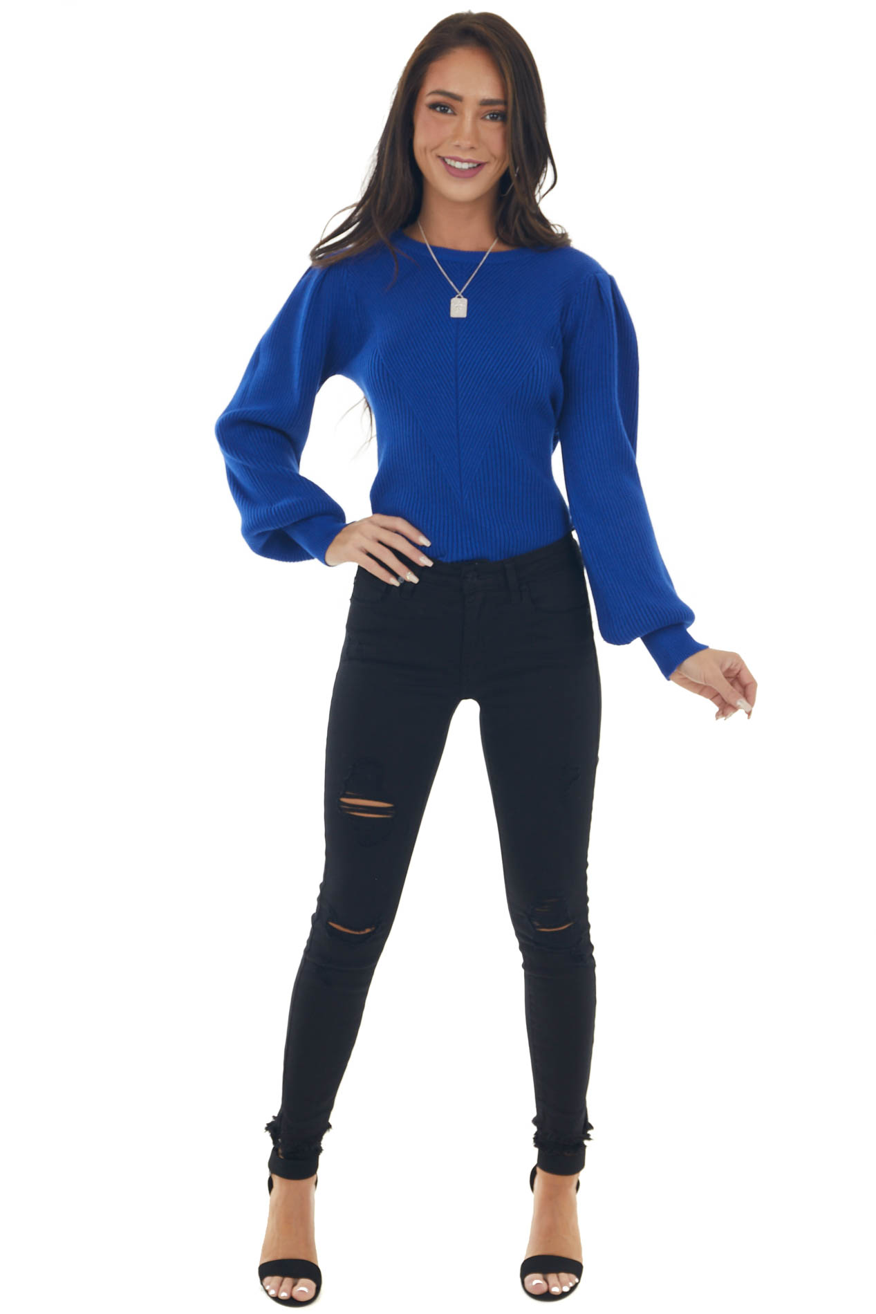Cobalt Puff Sleeve Fitted Ribbed Sweater