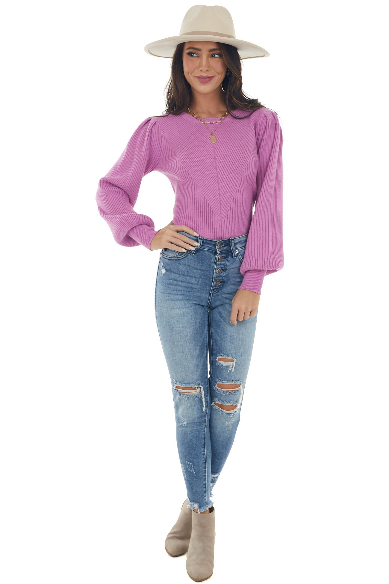 Orchid Puff Sleeve Fitted Ribbed Sweater