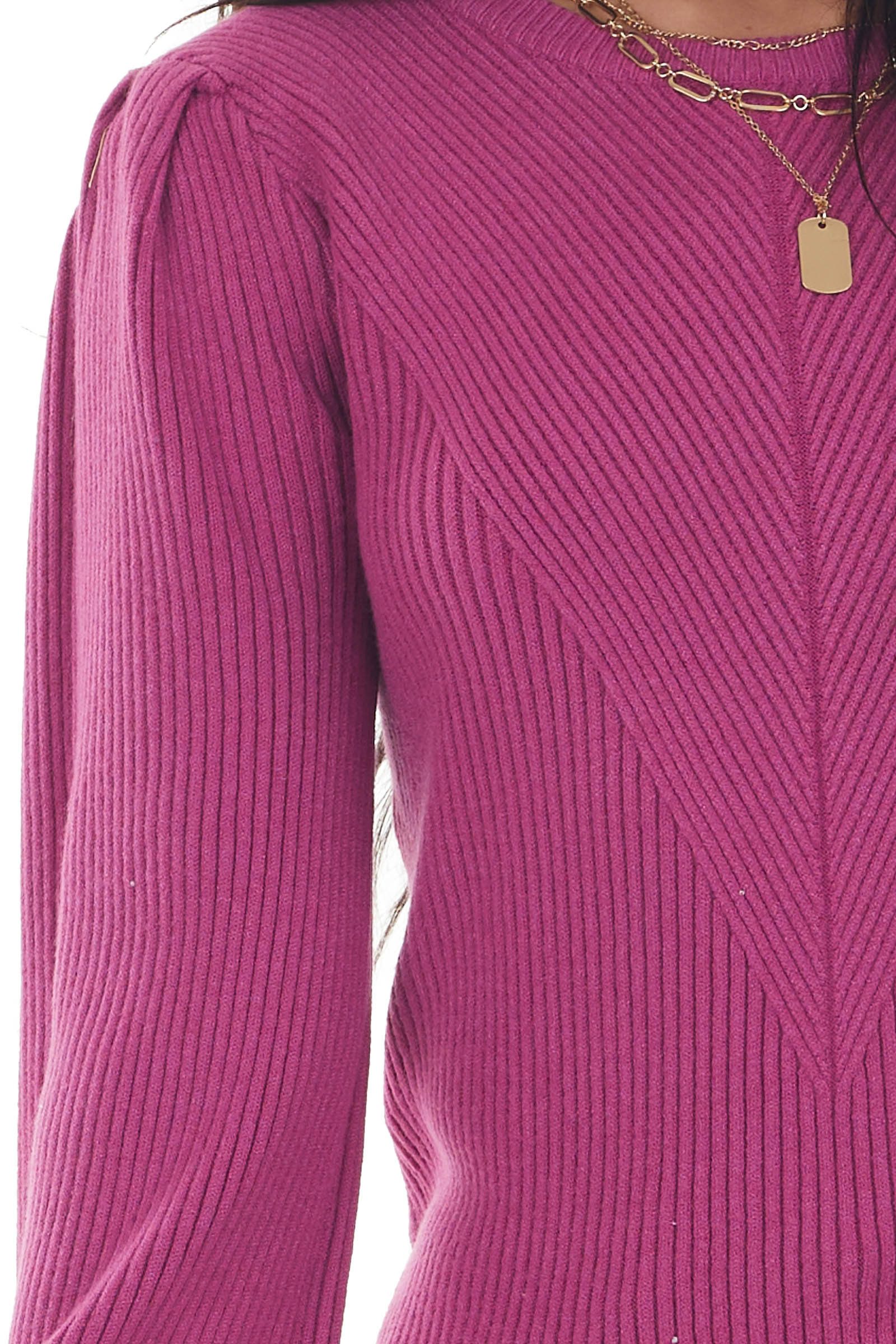 Mulberry Puff Sleeve Fitted Ribbed Sweater