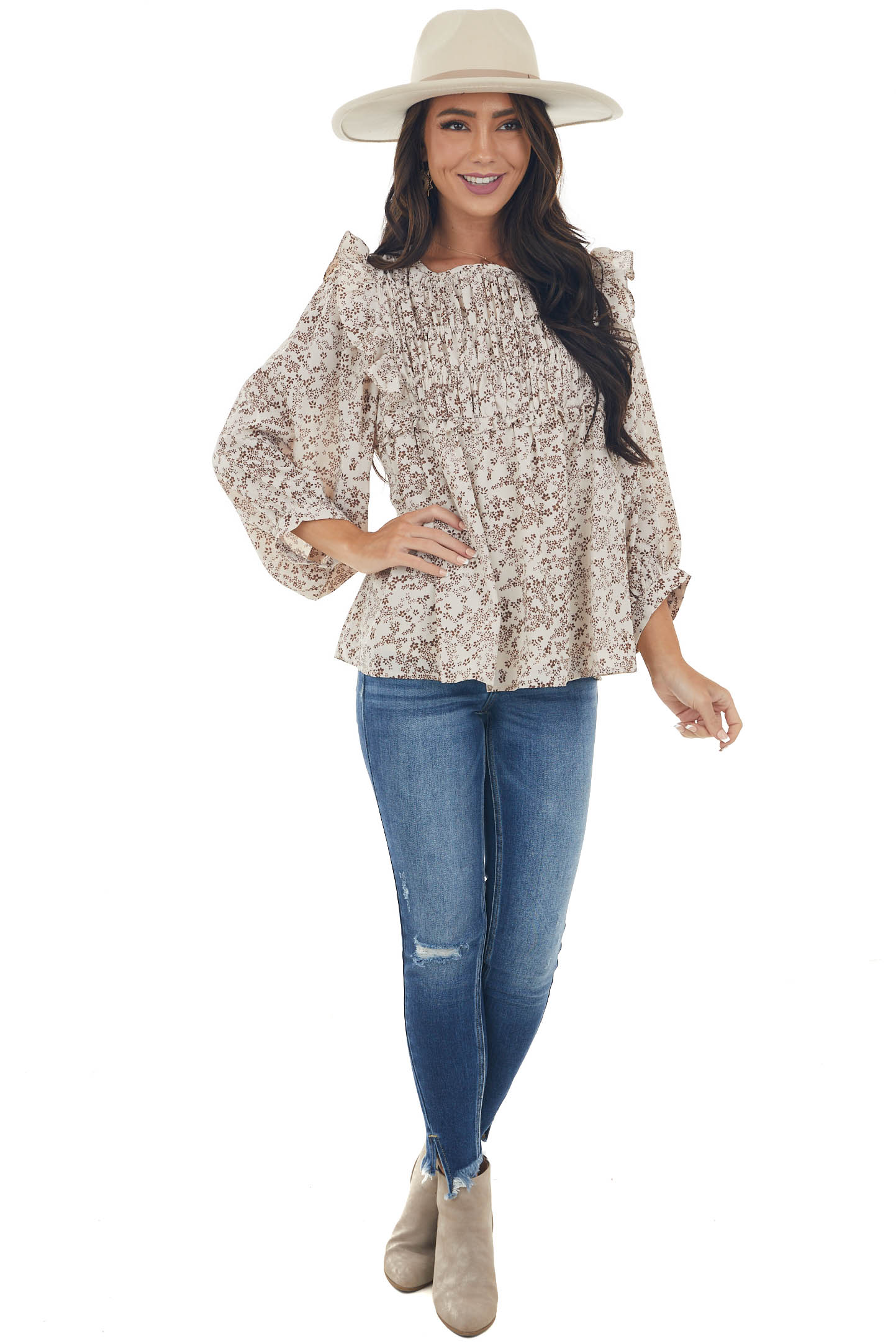 Oatmeal and Sepia Ditsy Floral Print Blouse