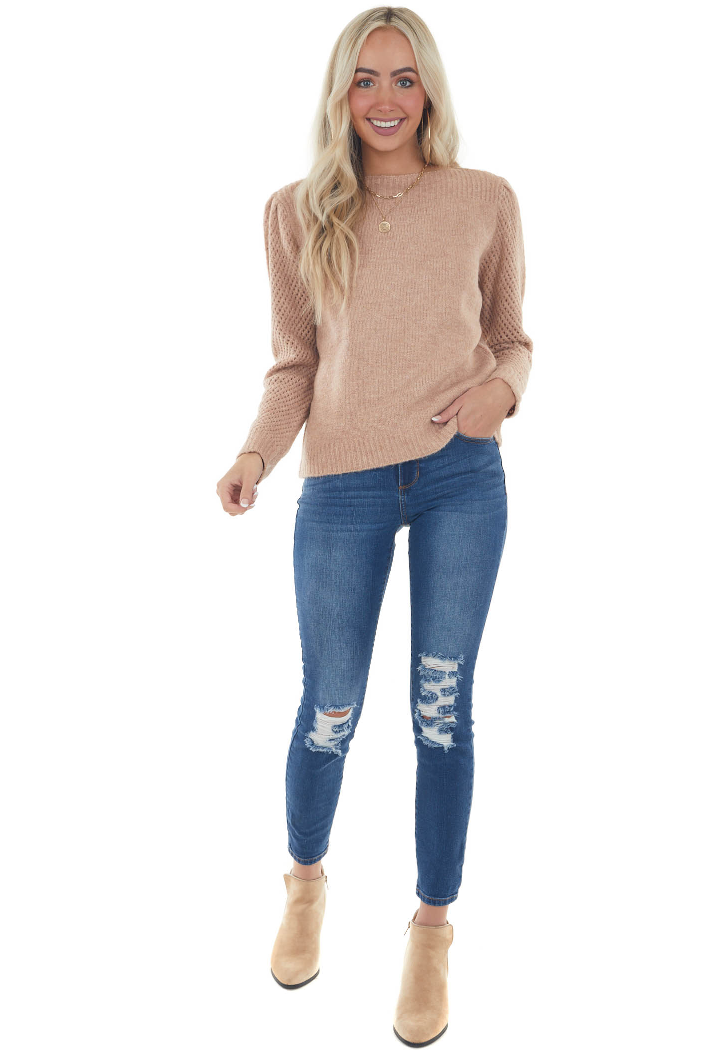 Peach Pink Boat Neck Pointelle Sleeve Sweater