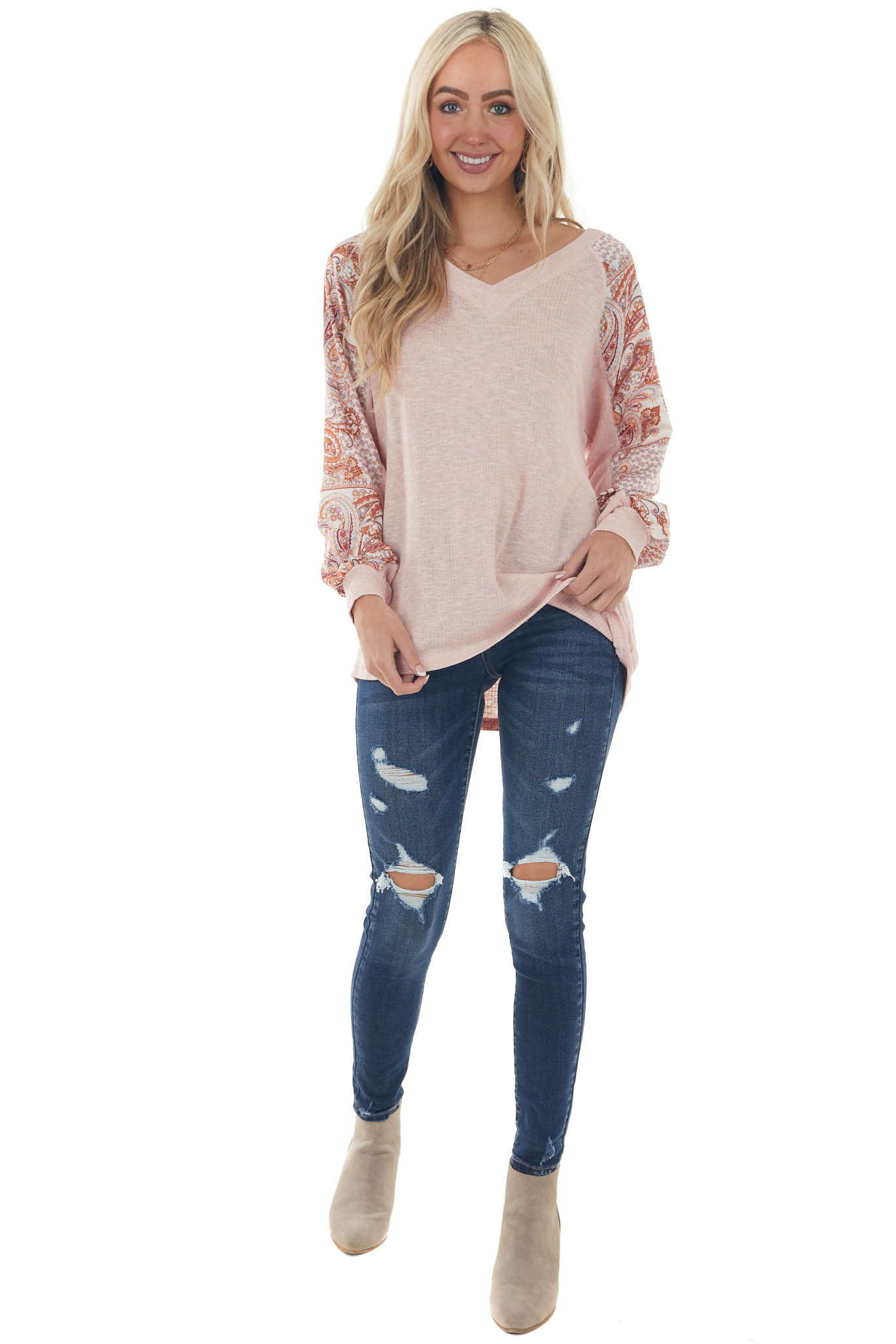 Tea Rose Knit Top with Paisley Printed Sleeves