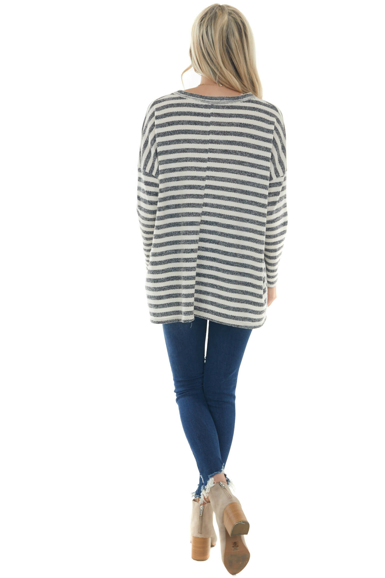 Ivory and Charcoal Striped Oversized Knit Top