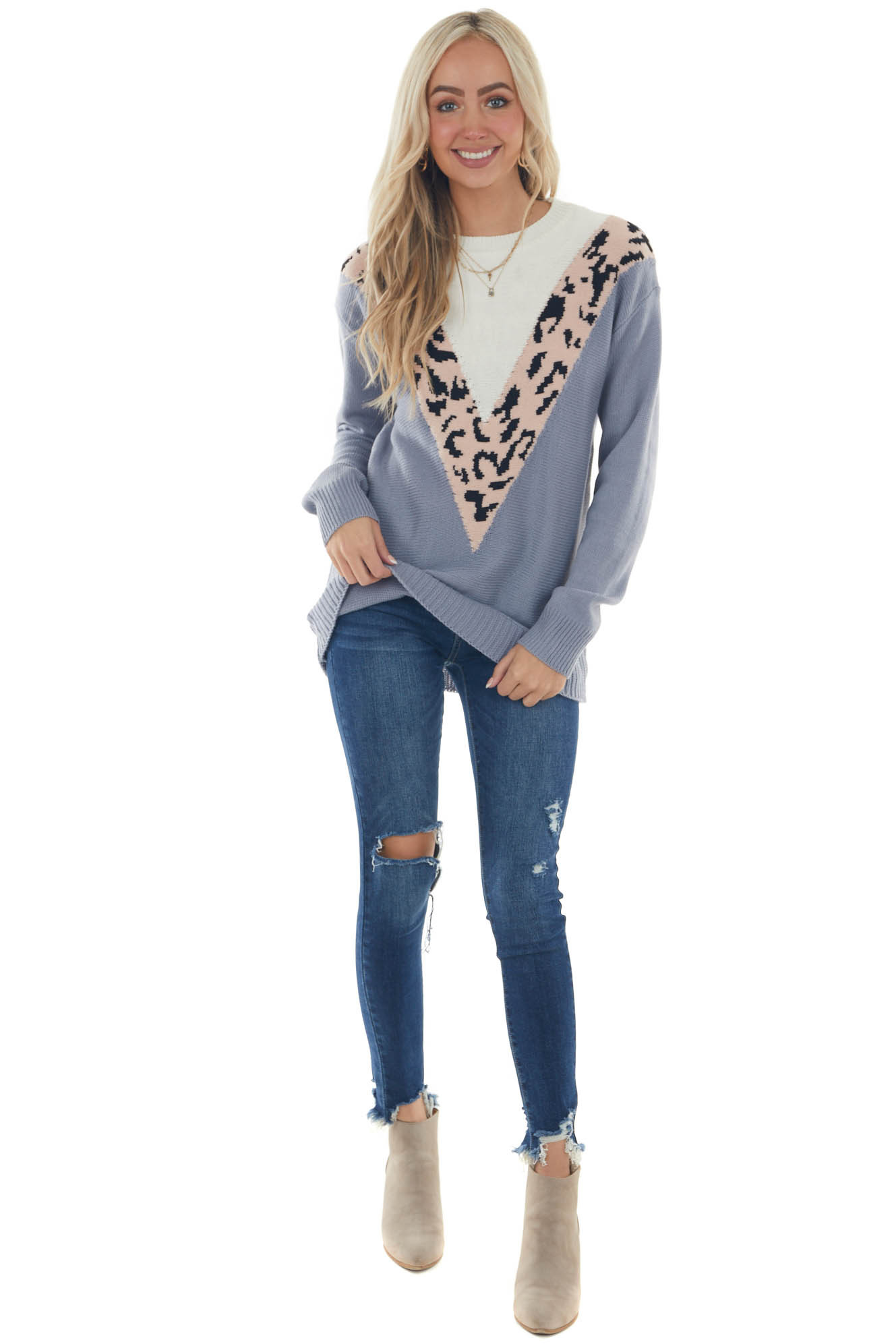 Slate and Blush Leopard Colorblock Sweater