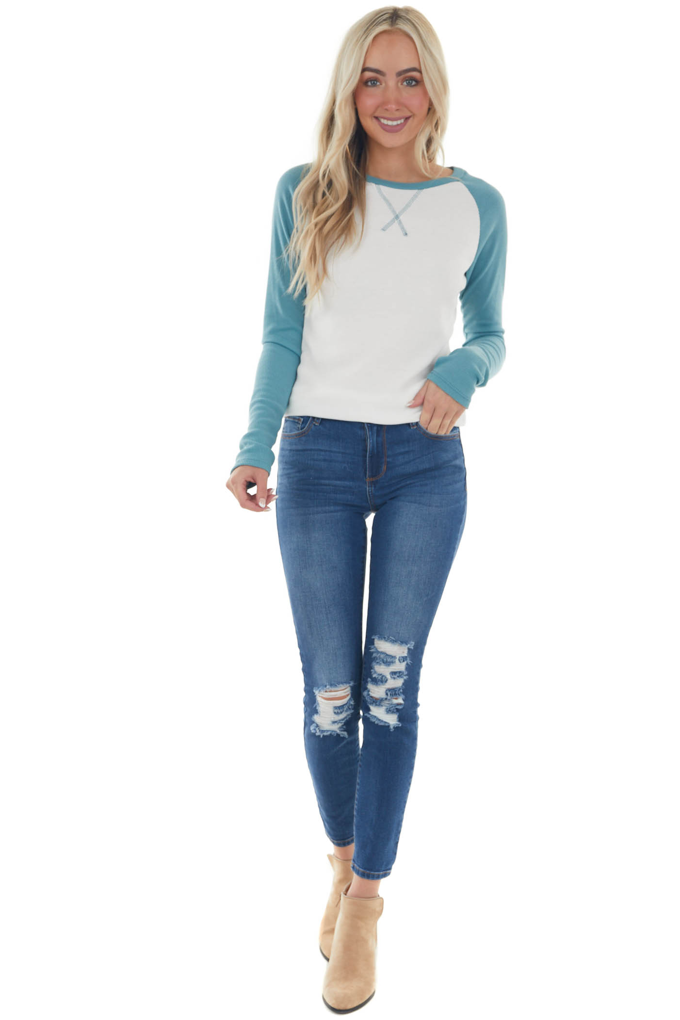 Juniper and Ivory Long Sleeve Top with X Stitch Detail