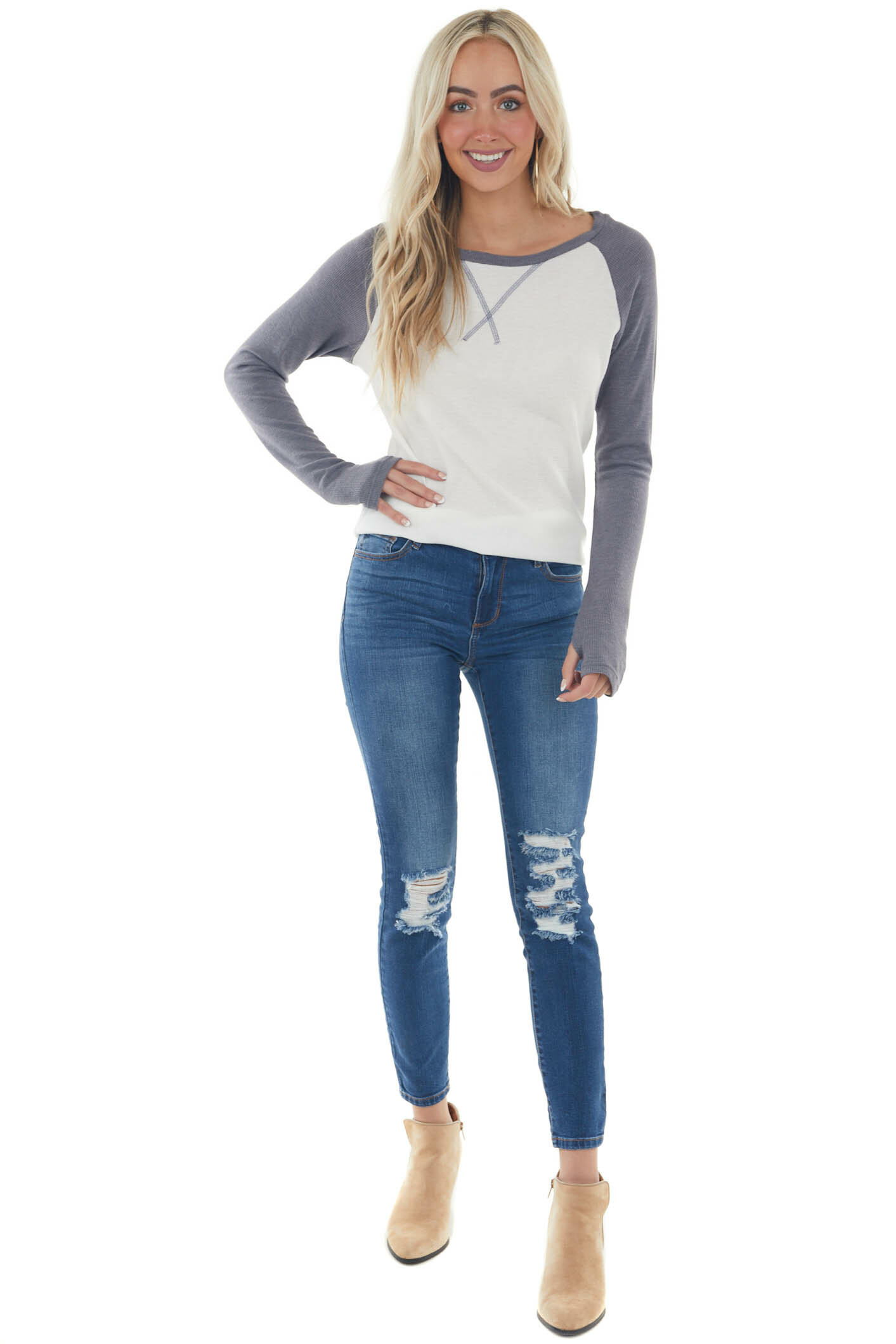 Stormy Grey and Ivory Long Sleeve Top with X Stitch Detail