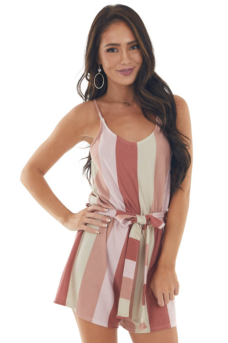 Rust Striped Sleeveless Knit Romper with Tie