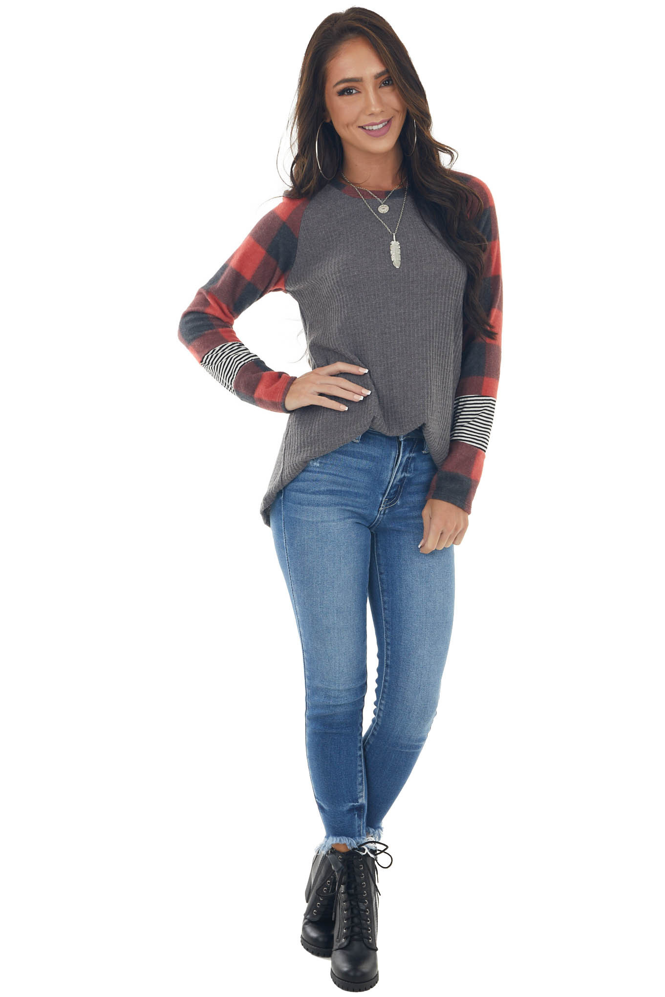 Ruby Multiprint Contrast Brushed Knit Top