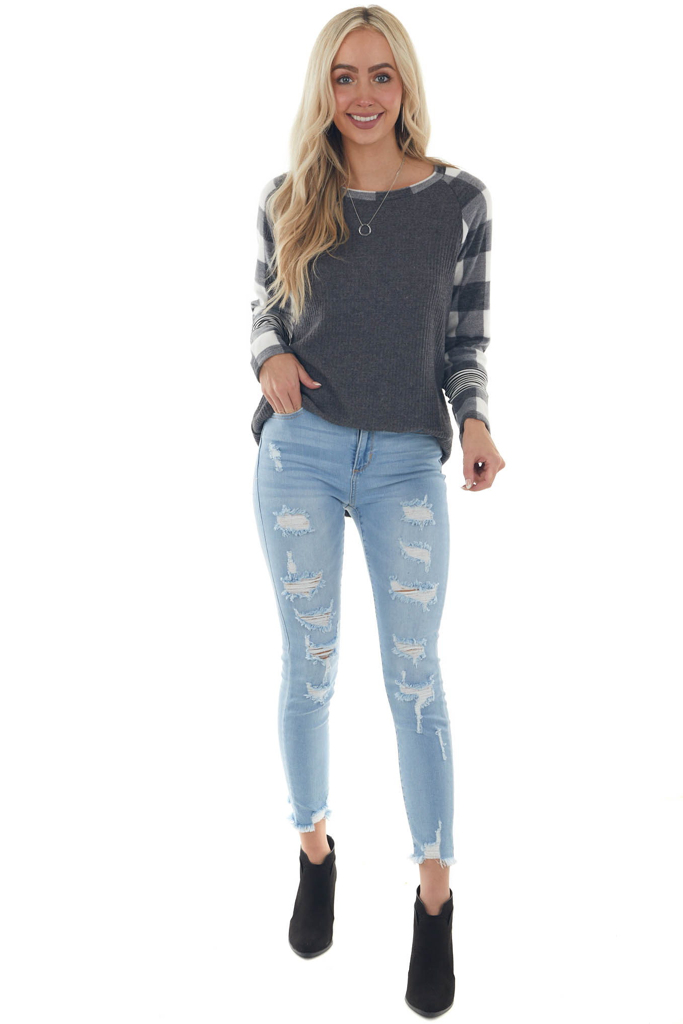 Off White Multiprint Contrast Brushed Knit Top