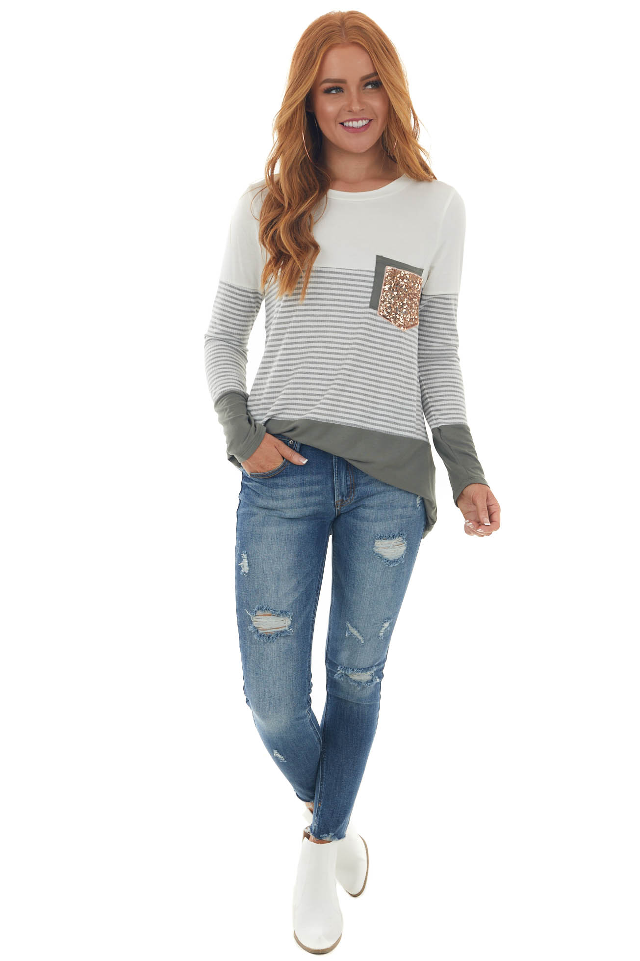 Dark Olive Colorblock Double Chest Pocket Top
