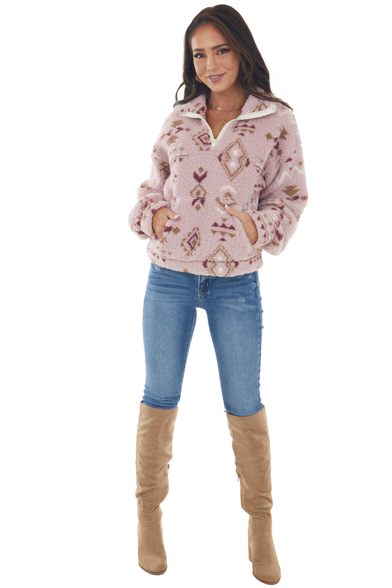 Carnation Aztec Print Sherpa Pull Over Jacket