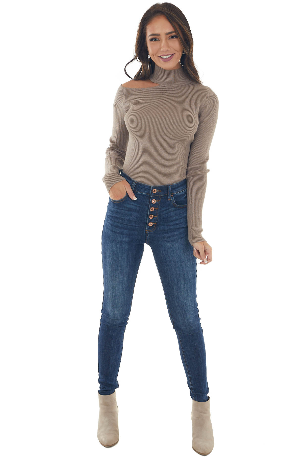 Taupe Ribbed Knit Cold Shoulder Sweater Top