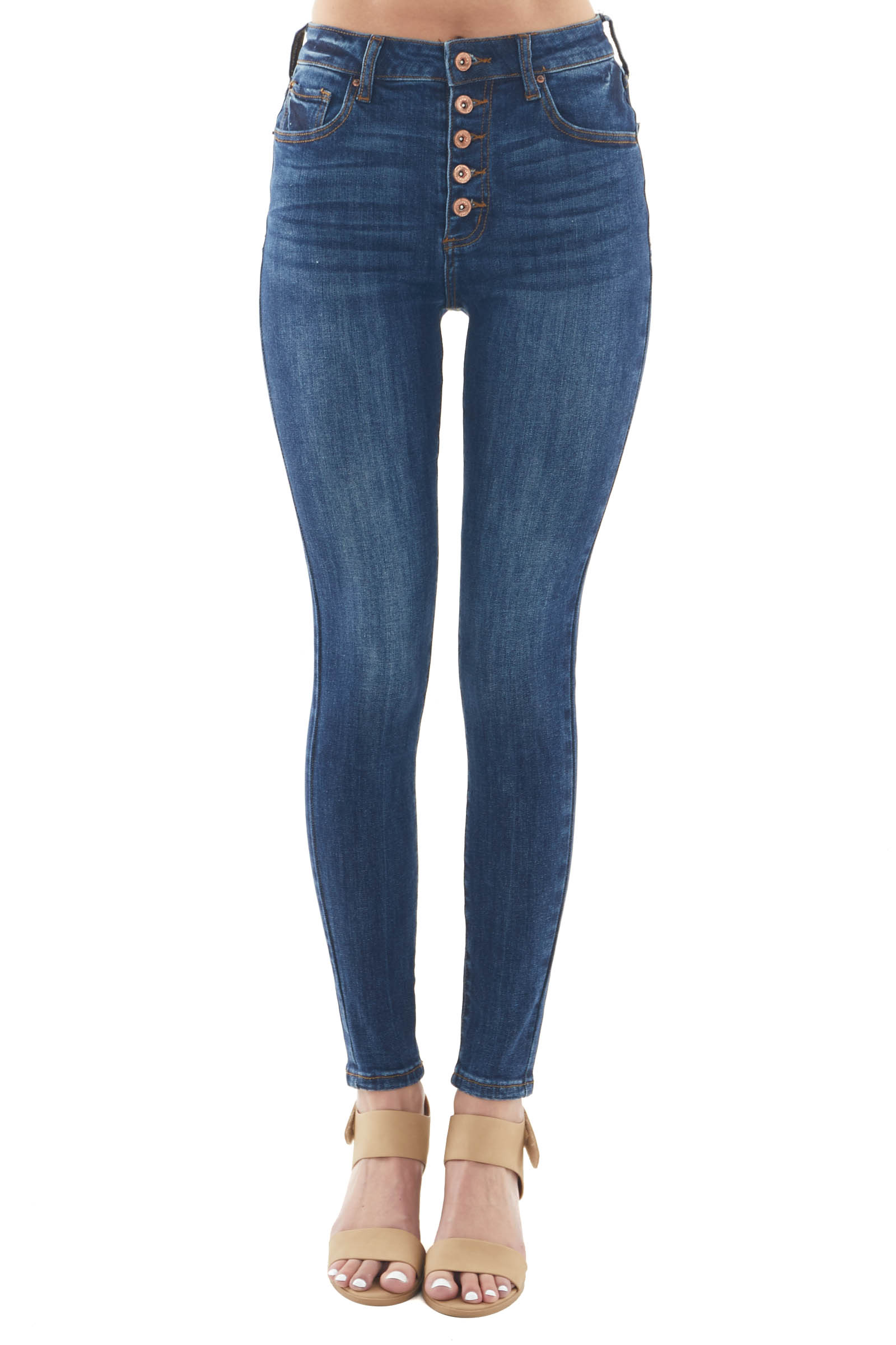 Dark Wash High Rise Button Front Skinny Jeans