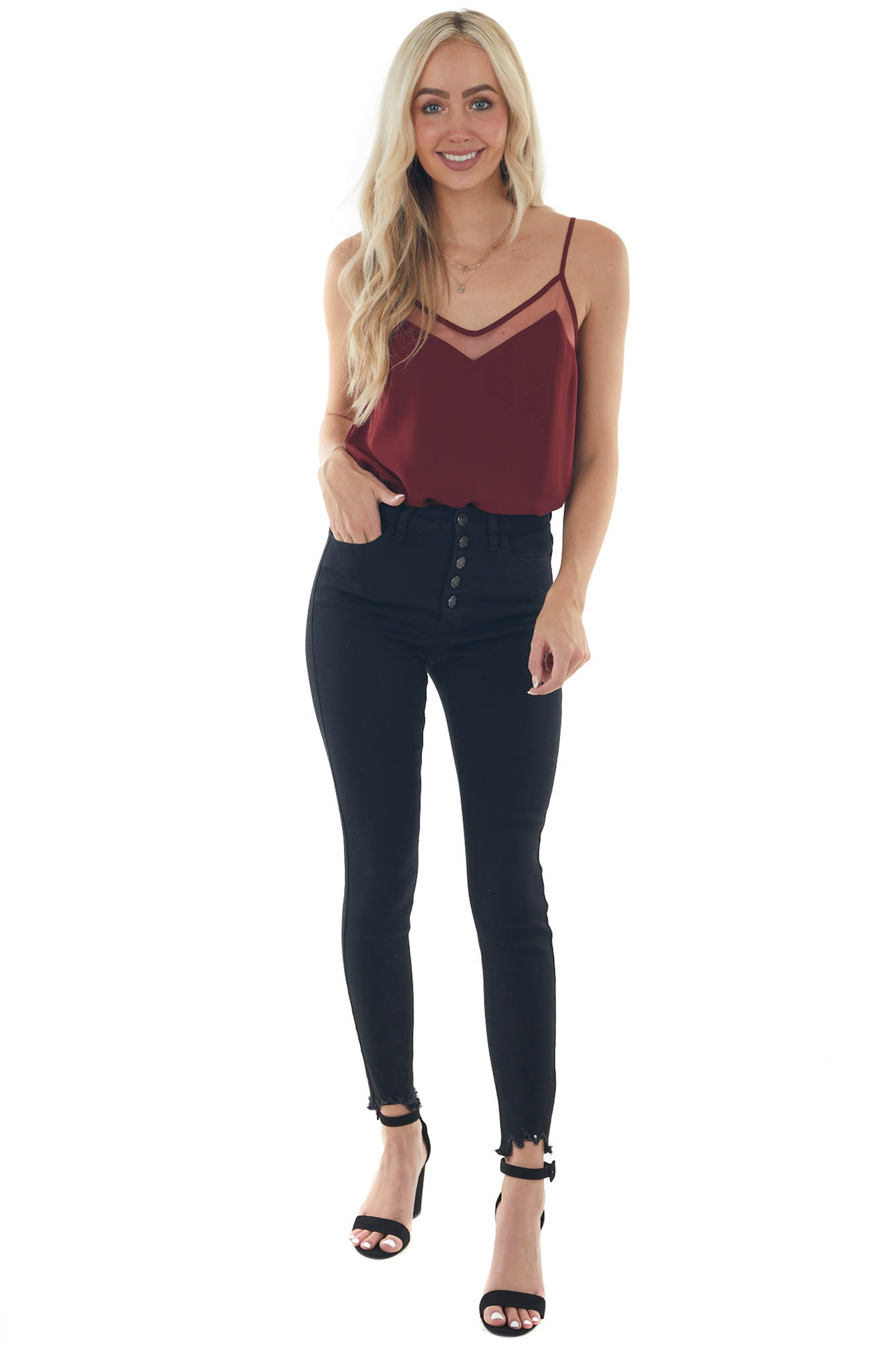 Sangria Tank Top with V Neck and Mesh Trim