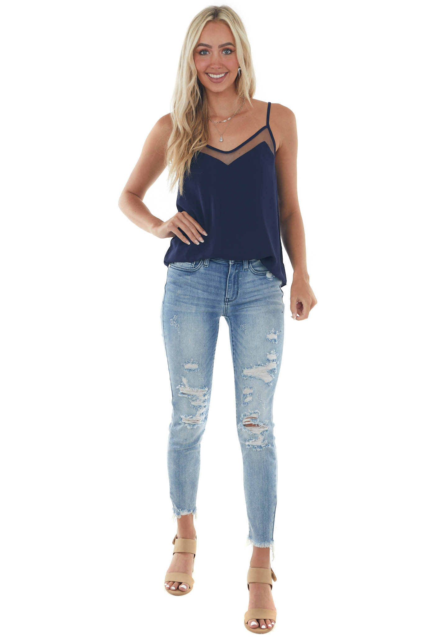 Navy Tank Top with V Neck and Mesh Trim
