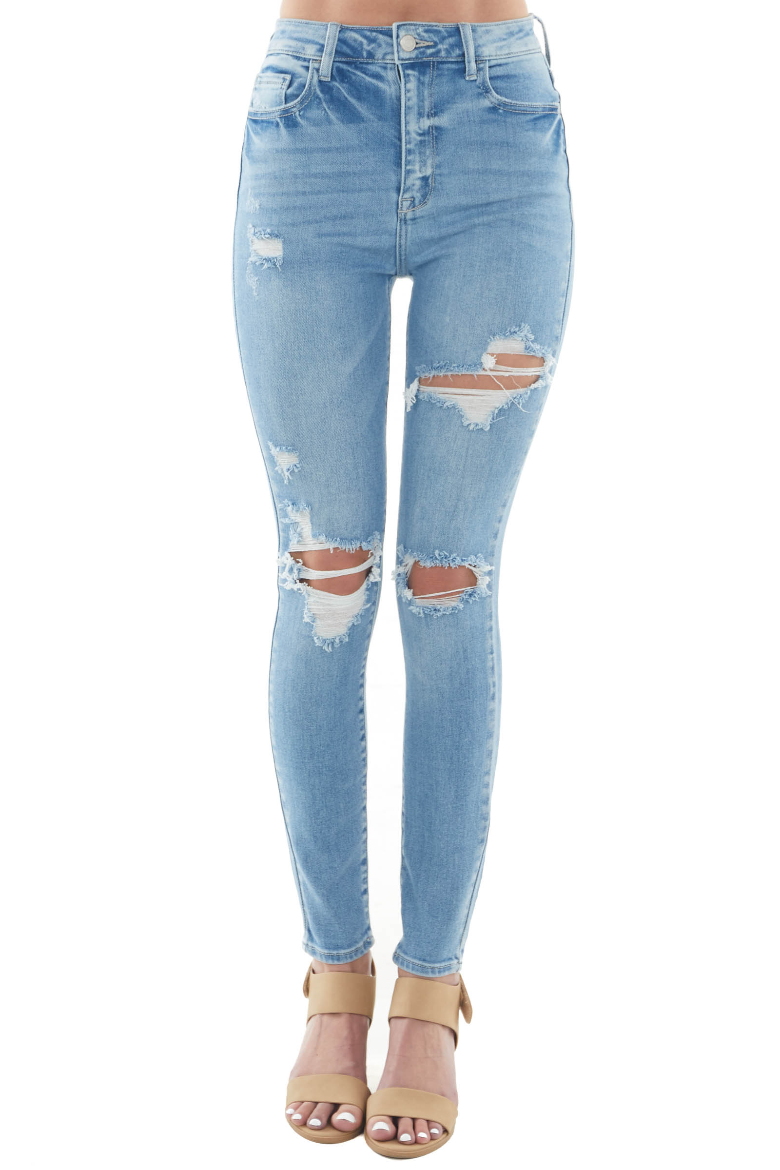Light Wash Distressed High Rise Skinny Jeans