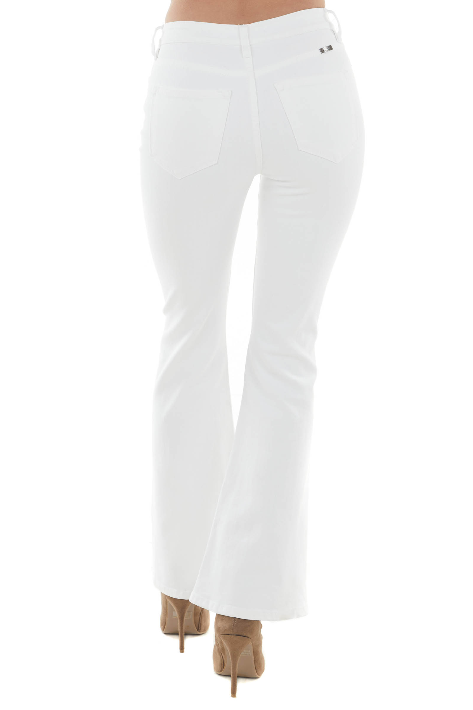 Pearl White High Rise Bootcut Distressed Jeans
