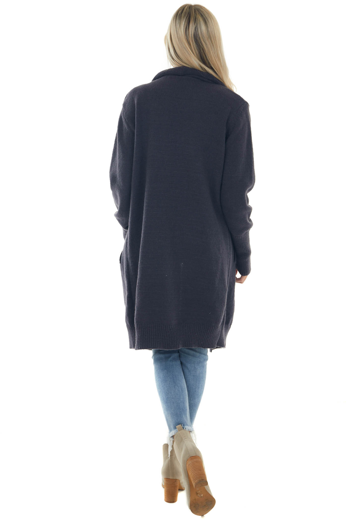 Charcoal Lapel Duster Cardigan with Pockets