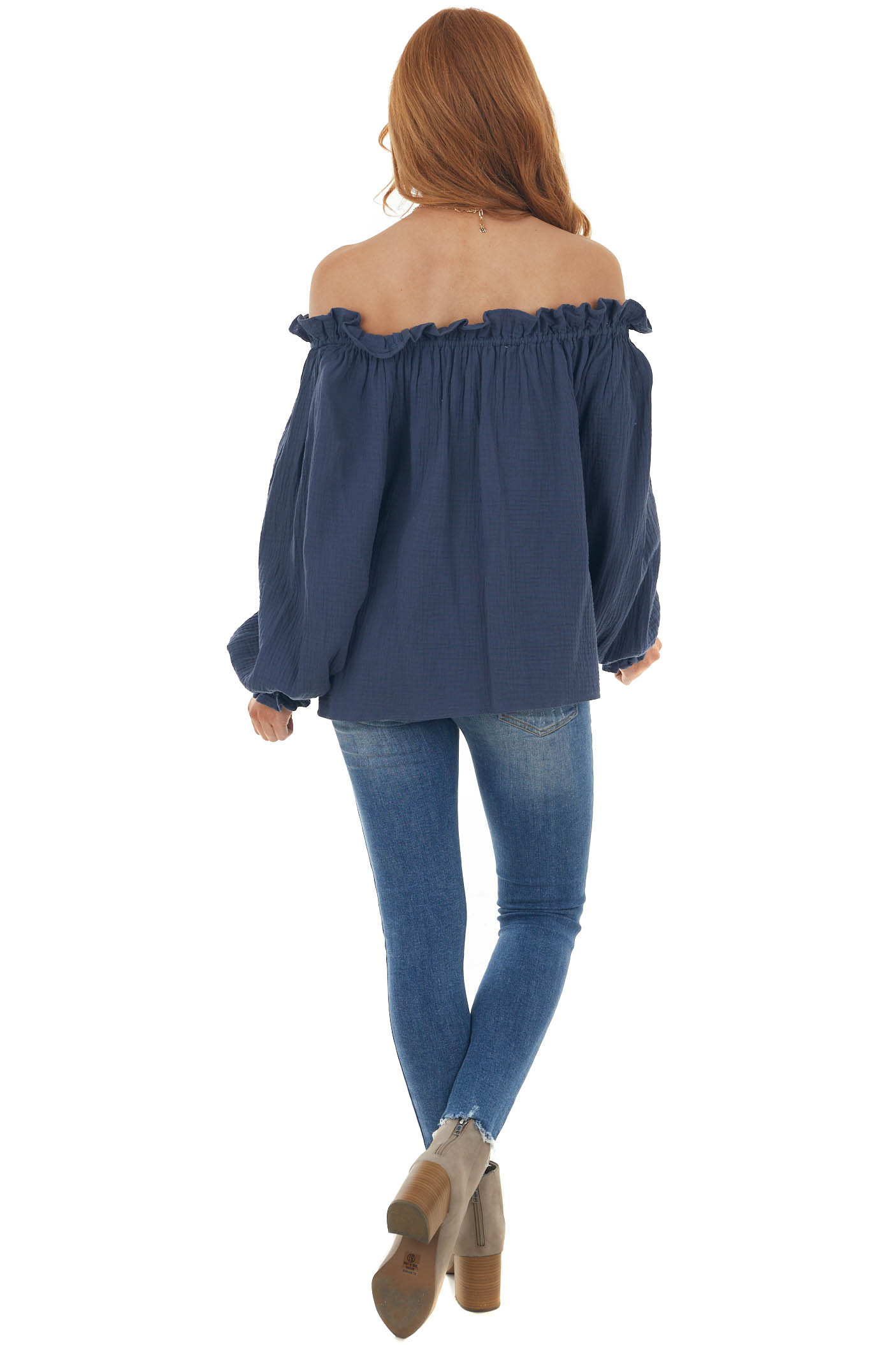 Navy Textured Off Shoulder Frill Blouse