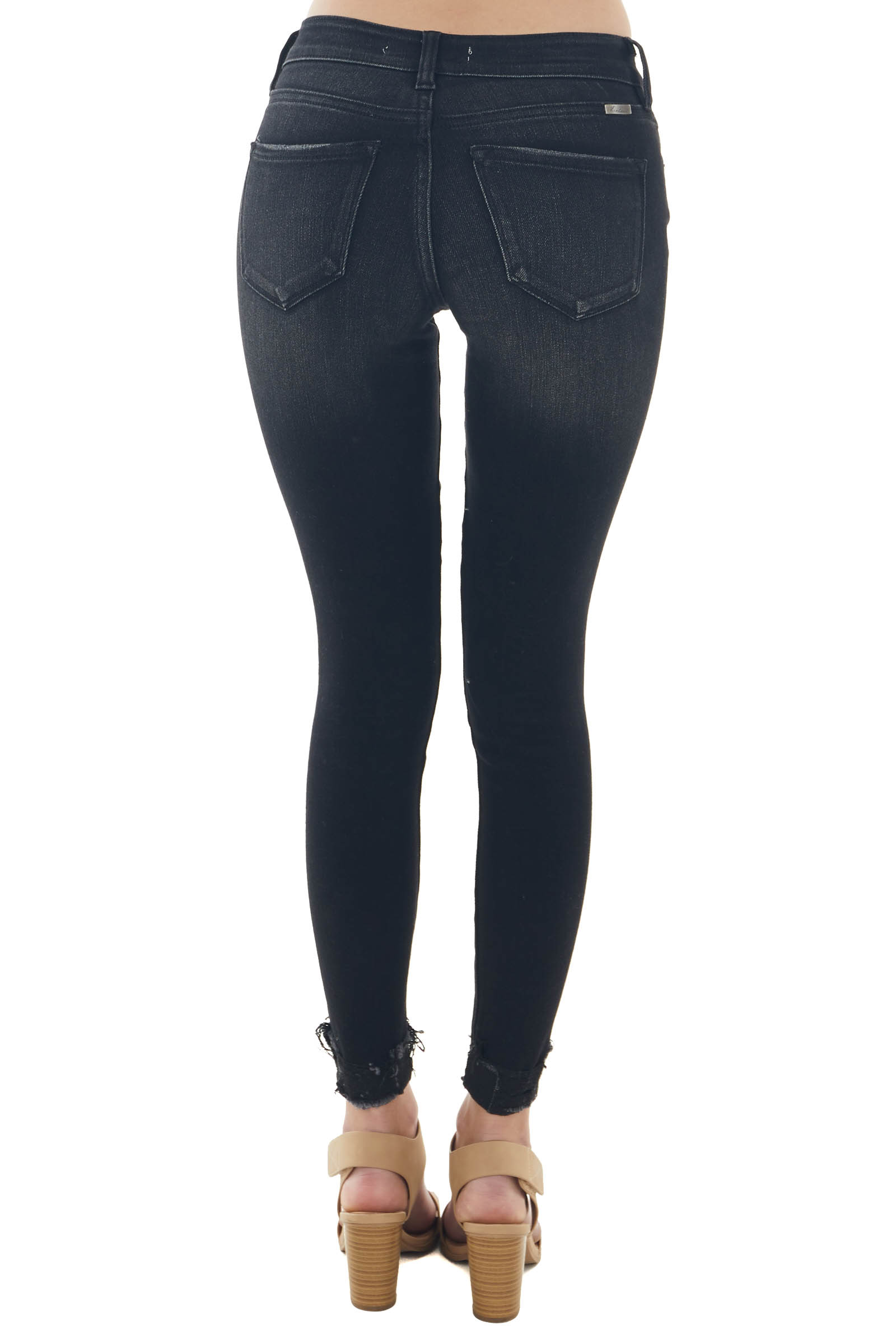 Black Washed Mid Rise Distressed Skinny Jeans