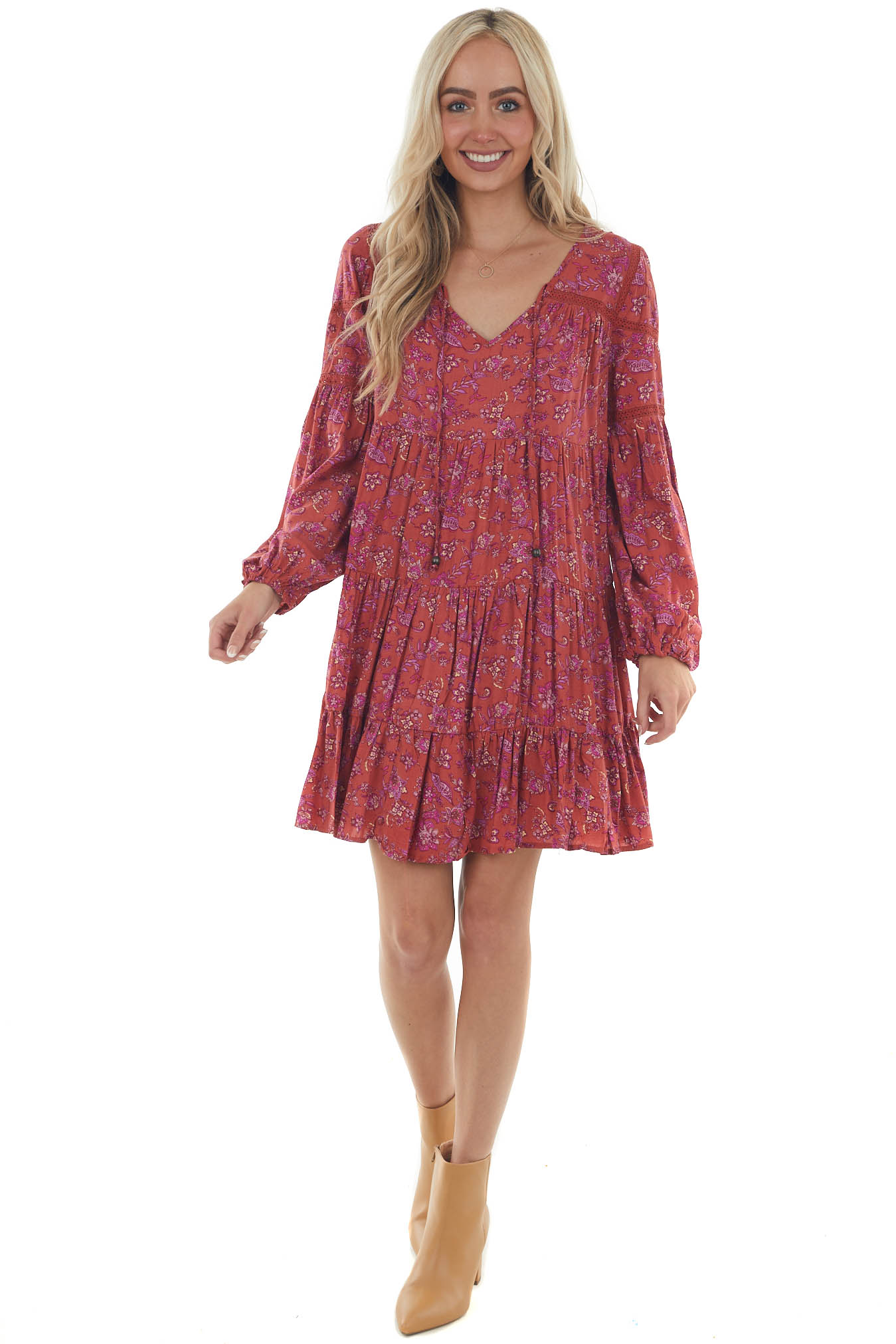 Rust Floral Print Mini Dress with Long Sleeves