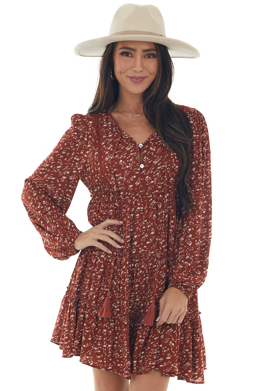 Rust Ditsy Floral Puff Sleeve Tiered Dress