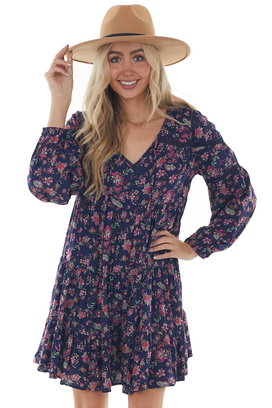 Navy Floral Print Mini Dress with Long Sleeves