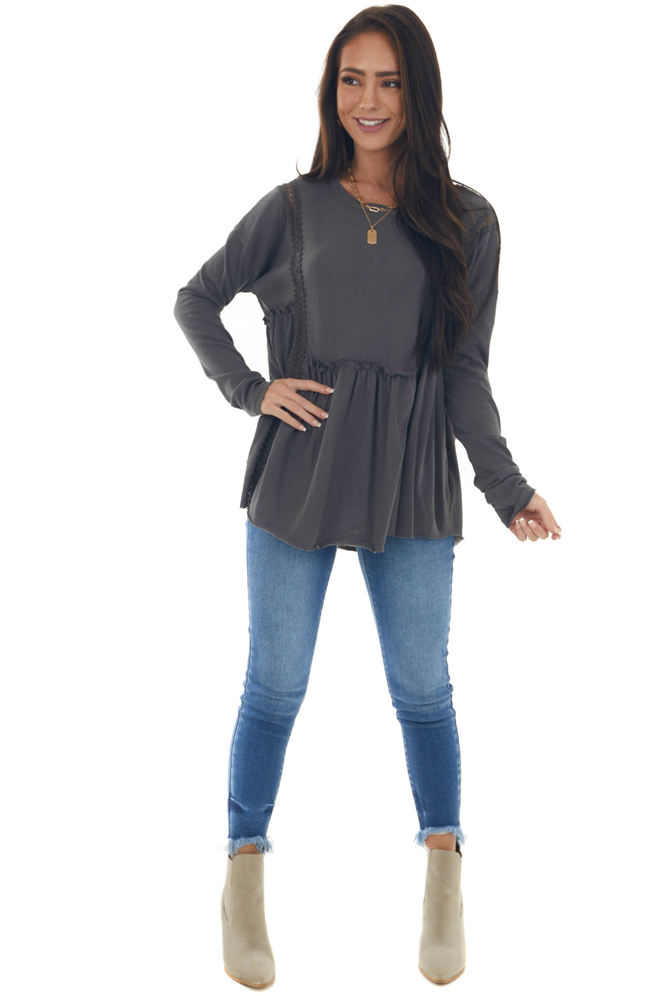 Graphite Long Sleeve Lace Detail Tunic Top
