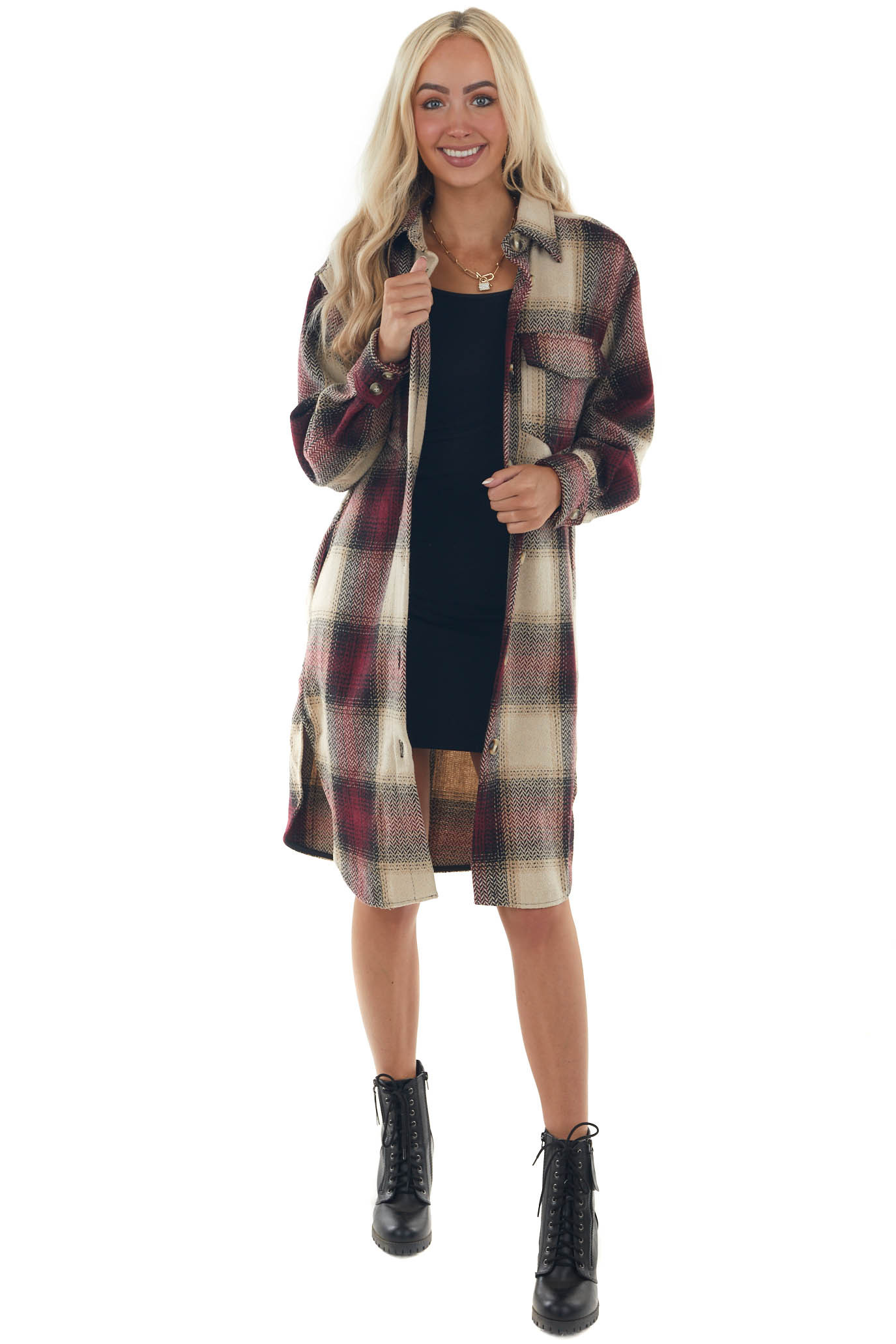 Wine Red Plaid Button Up Long Coat