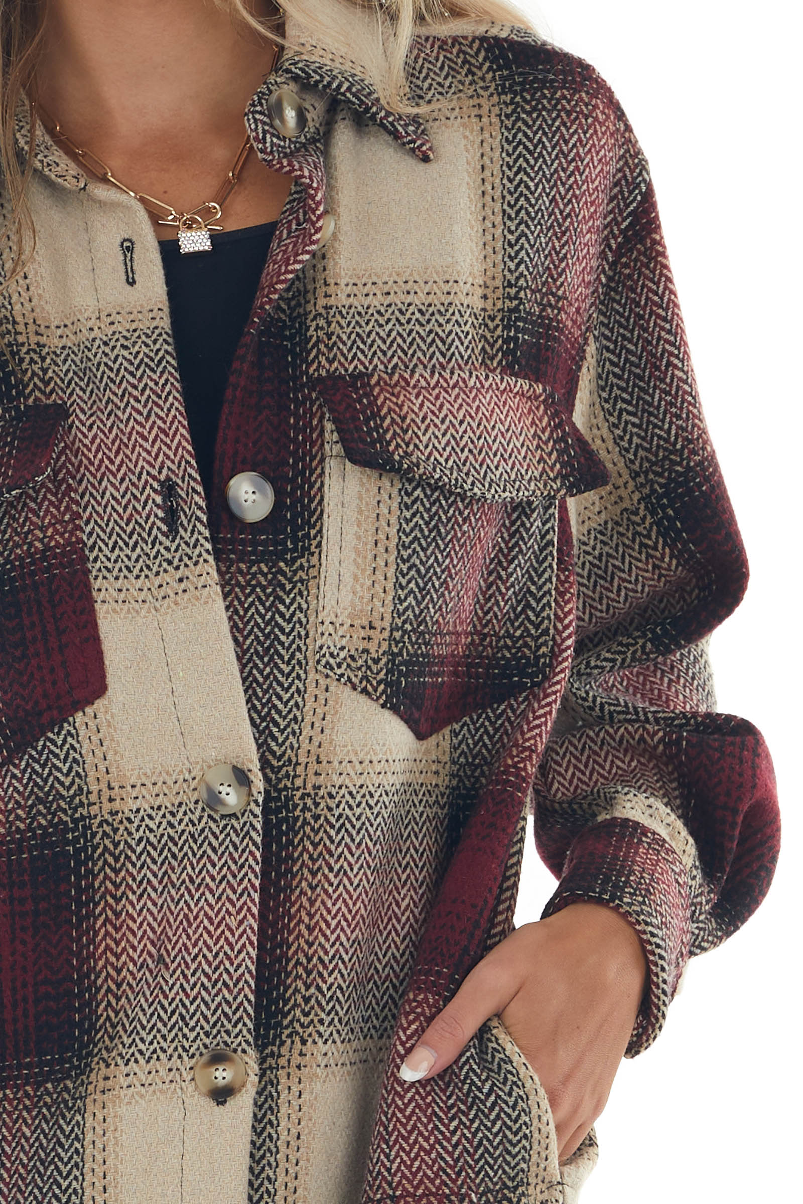 Wine Red Plaid Button Up Duster Length Coat