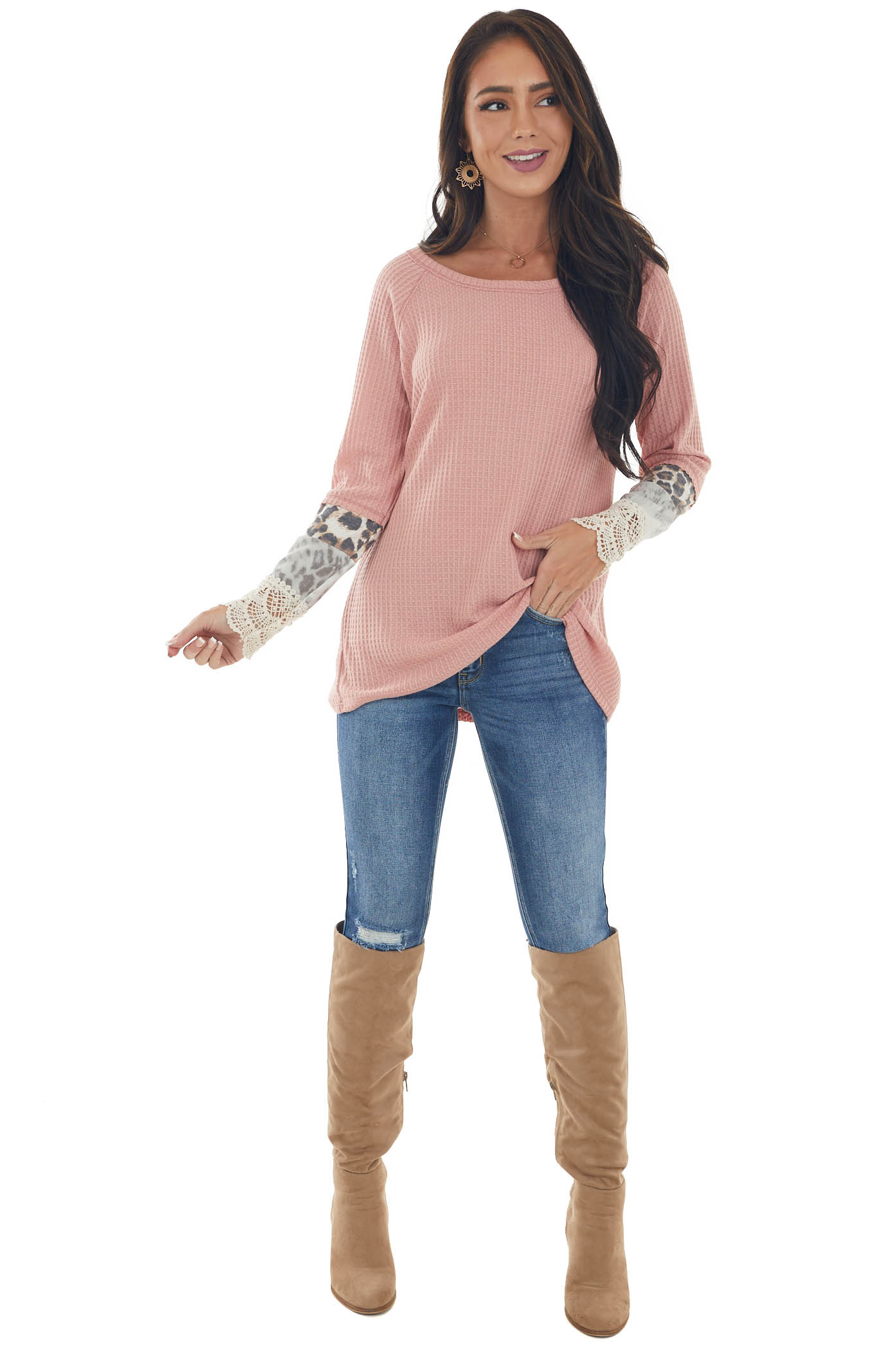 Light Punch Long Sleeve Waffle Knit Top with Multiprint Cuff