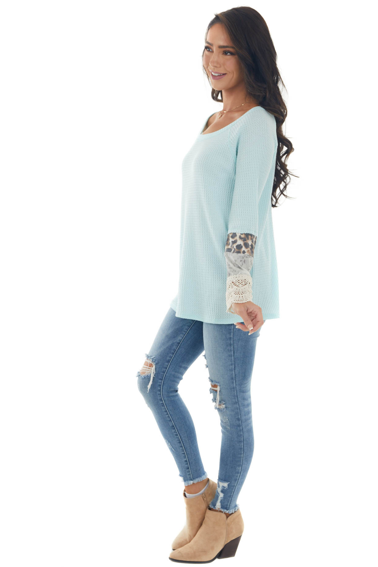 Sky Long Sleeve Waffle Knit Top with Multiprint Cuff