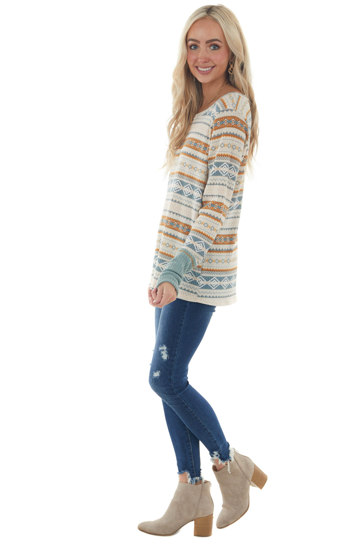 Steel Blue and Tawny Aztec Long Sleeve Top