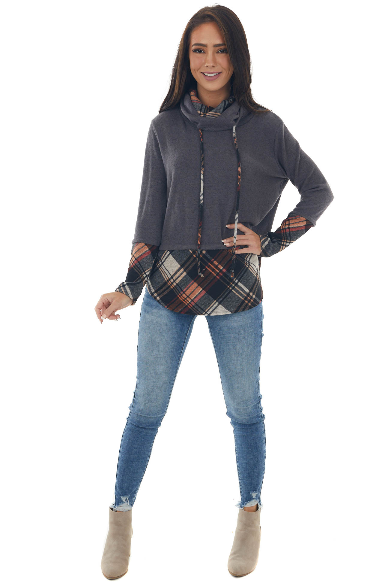 Charcoal Plaid Cowl Neck Brushed Knit Top