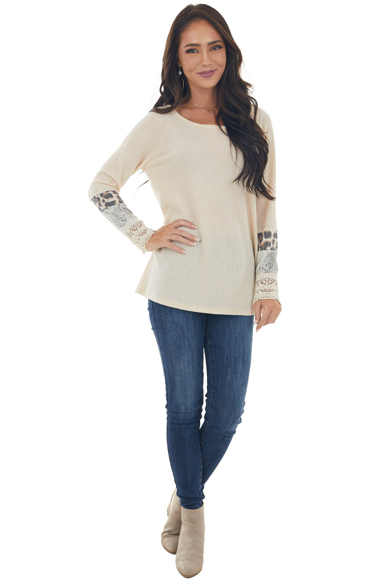 Beige Long Sleeve Waffle Knit Top with Multiprint Cuff
