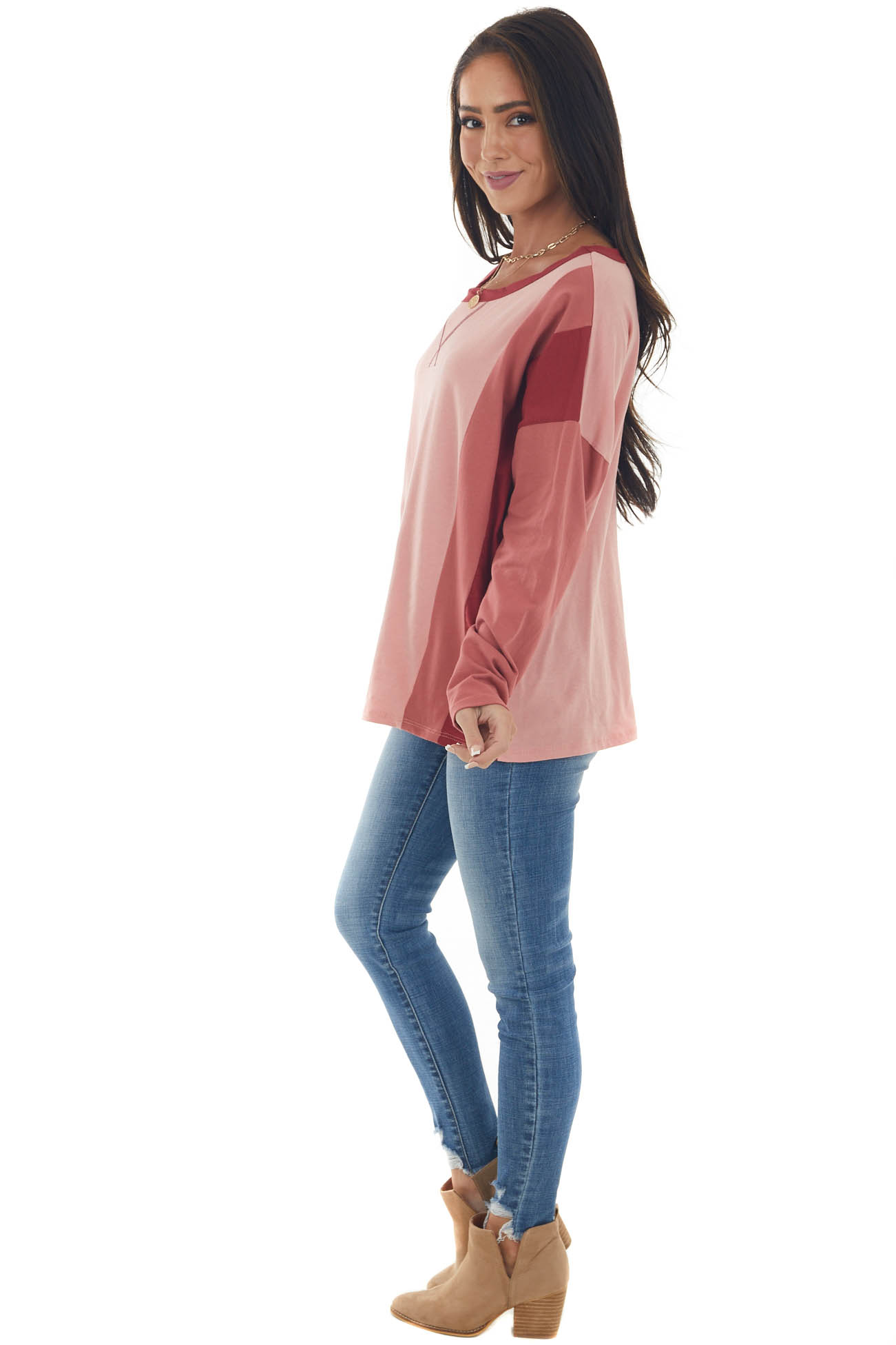 Coral Pink Colorblock Long Sleeve Knit Top