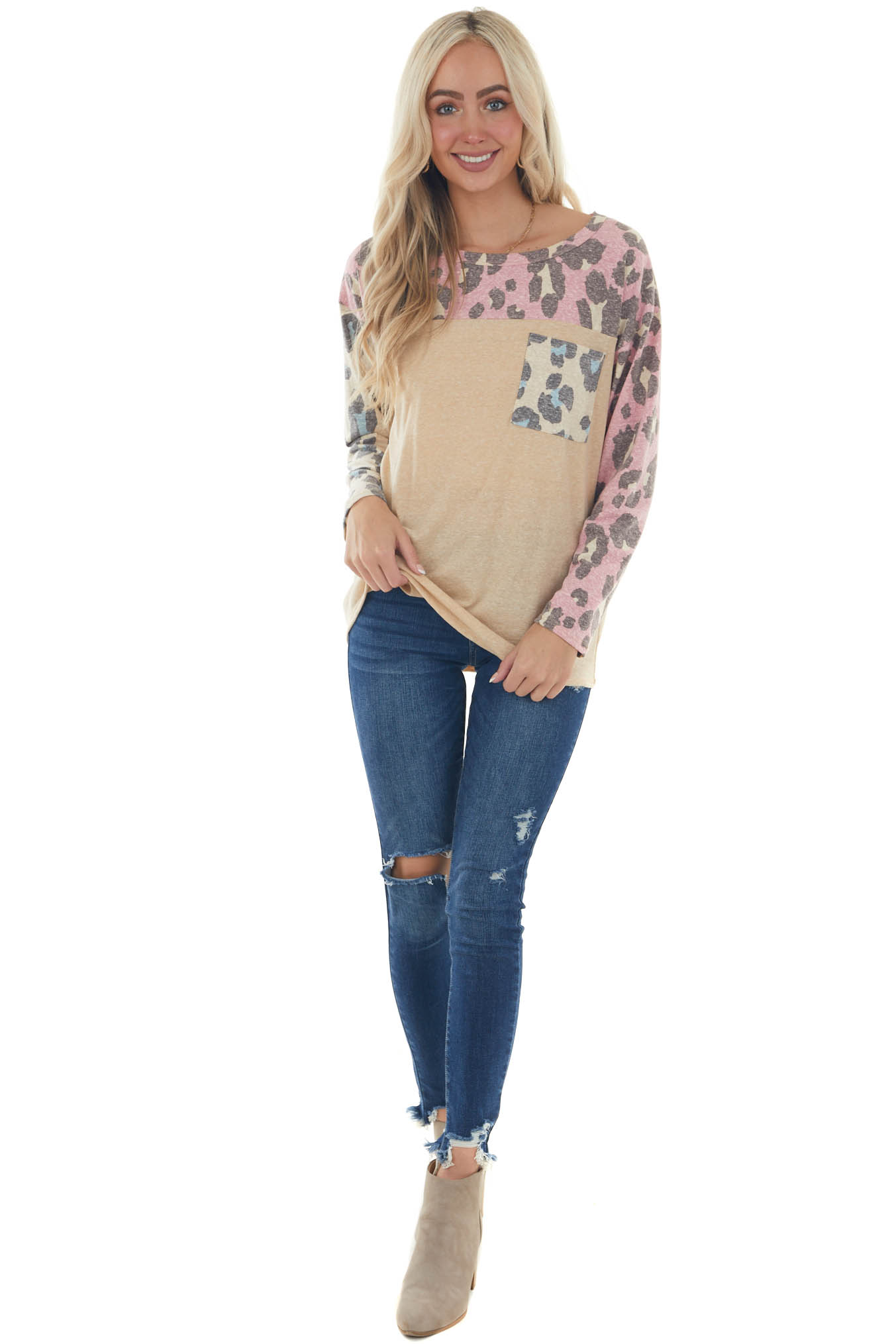 Heathered Taupe Leopard Top with Chest Pocket