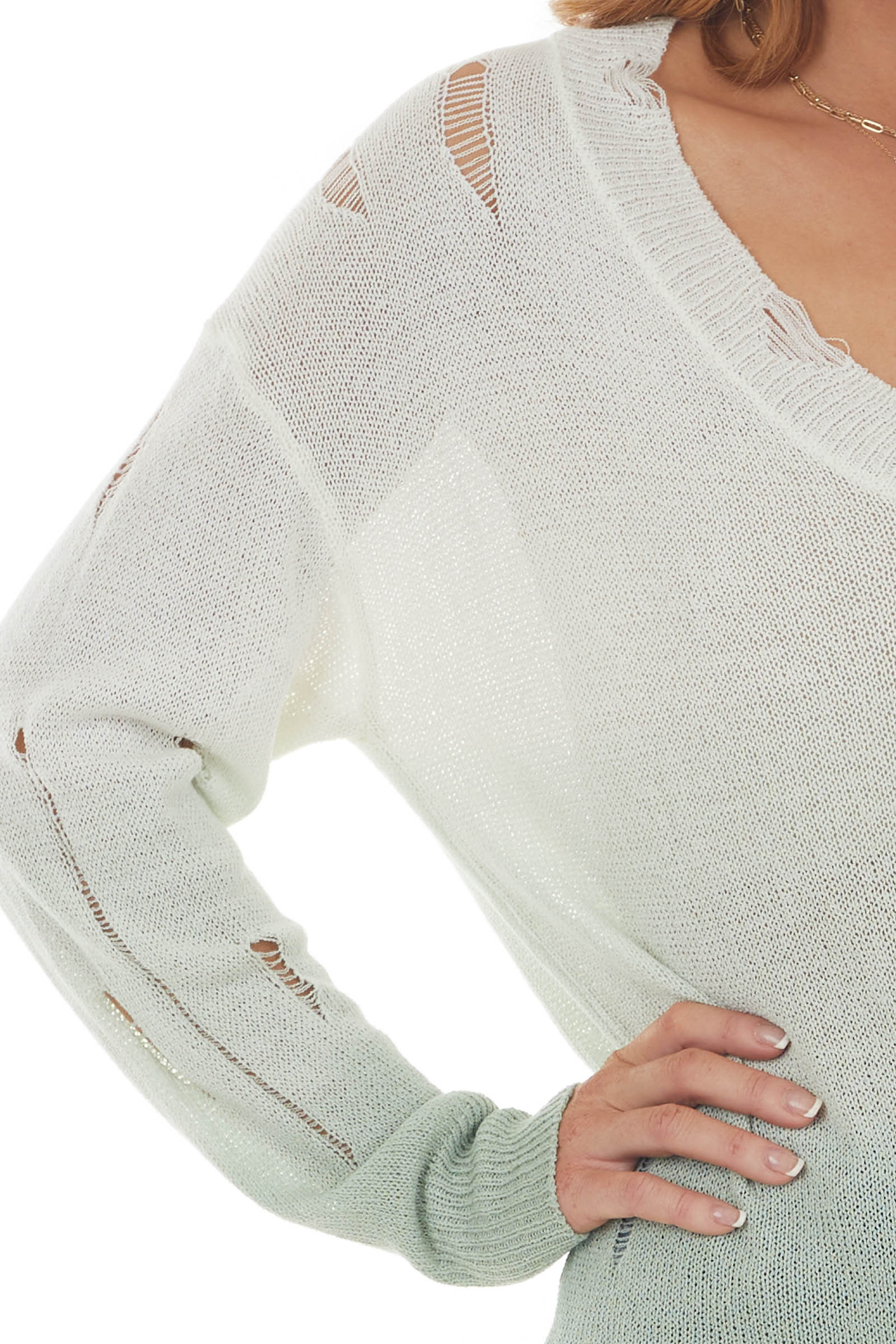 Light Sage and Ivory Ombre Distressed Top
