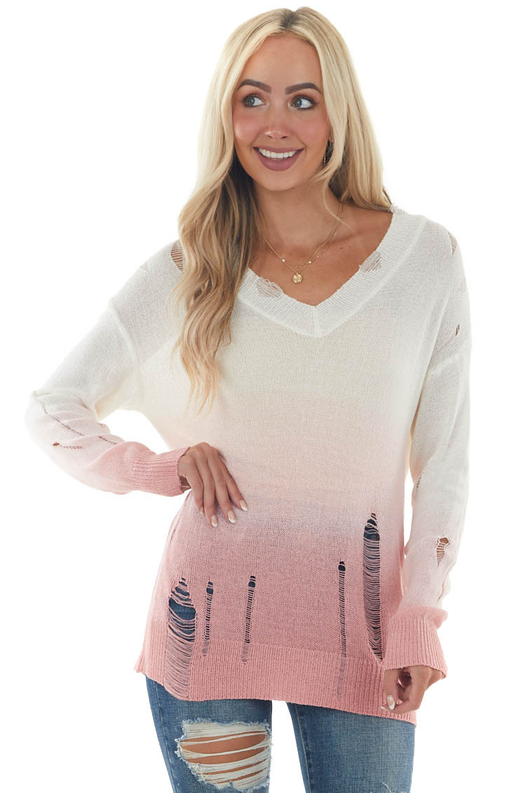 Deep Punch and Ivory Ombre Distressed Top