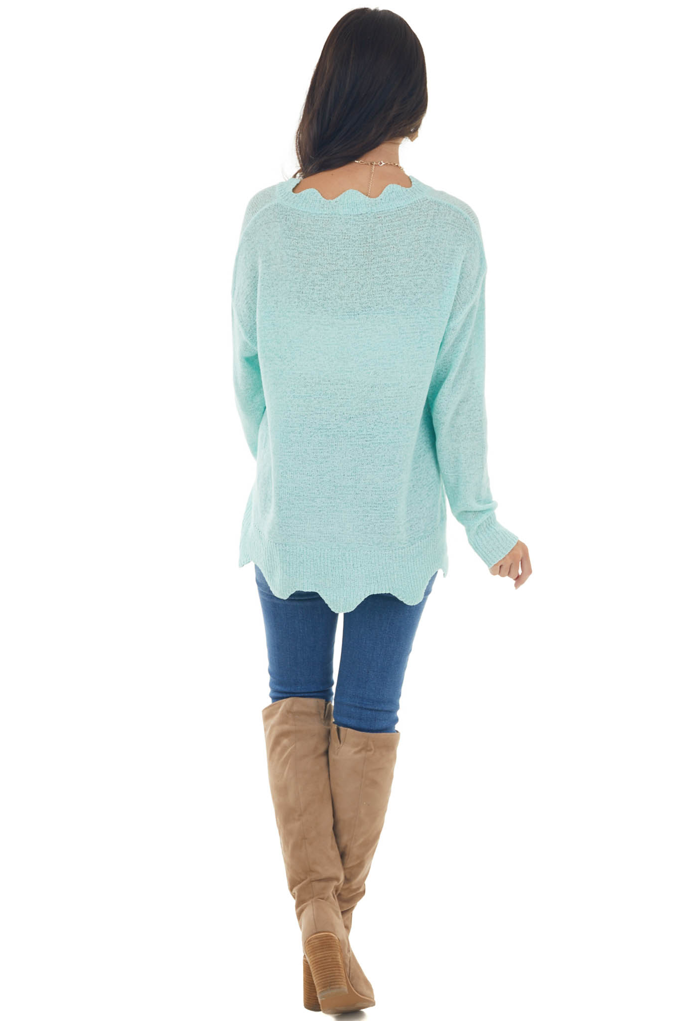 Mint V Neck Sweater with Scallop Details