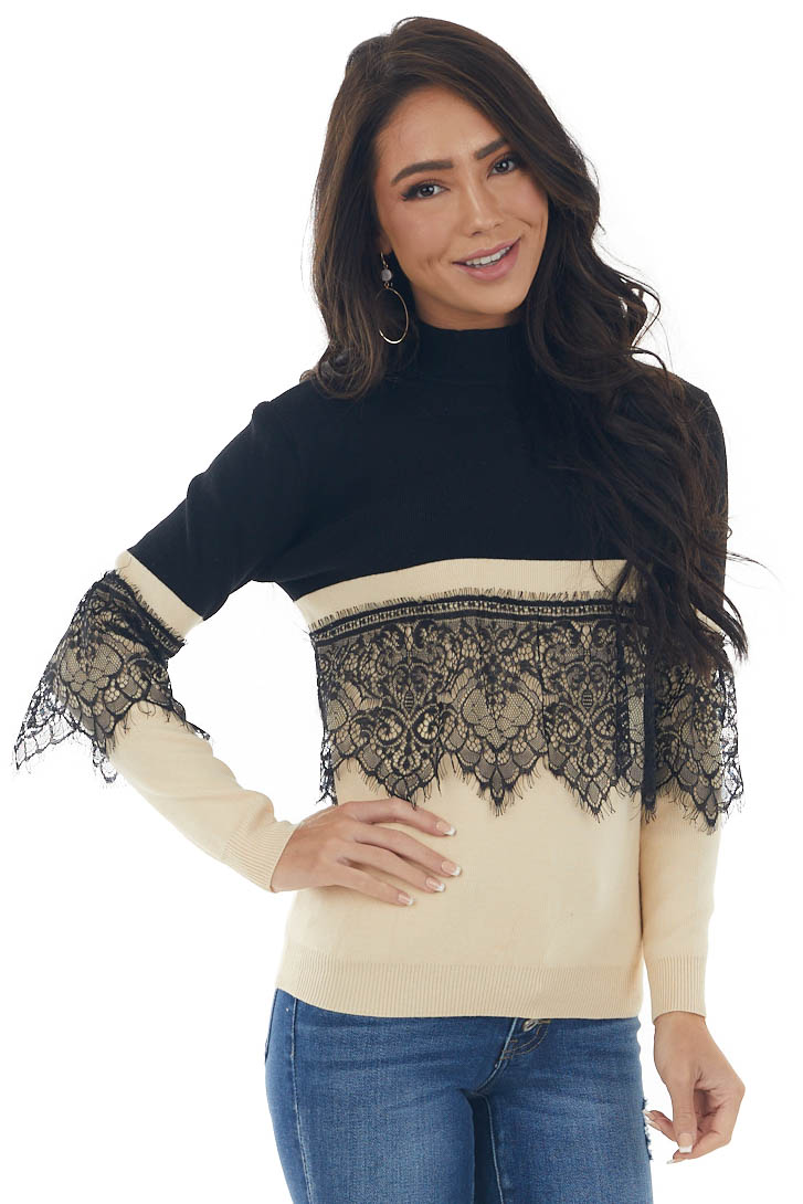 Black and Rich Beige Mock Neck Knit Sweater