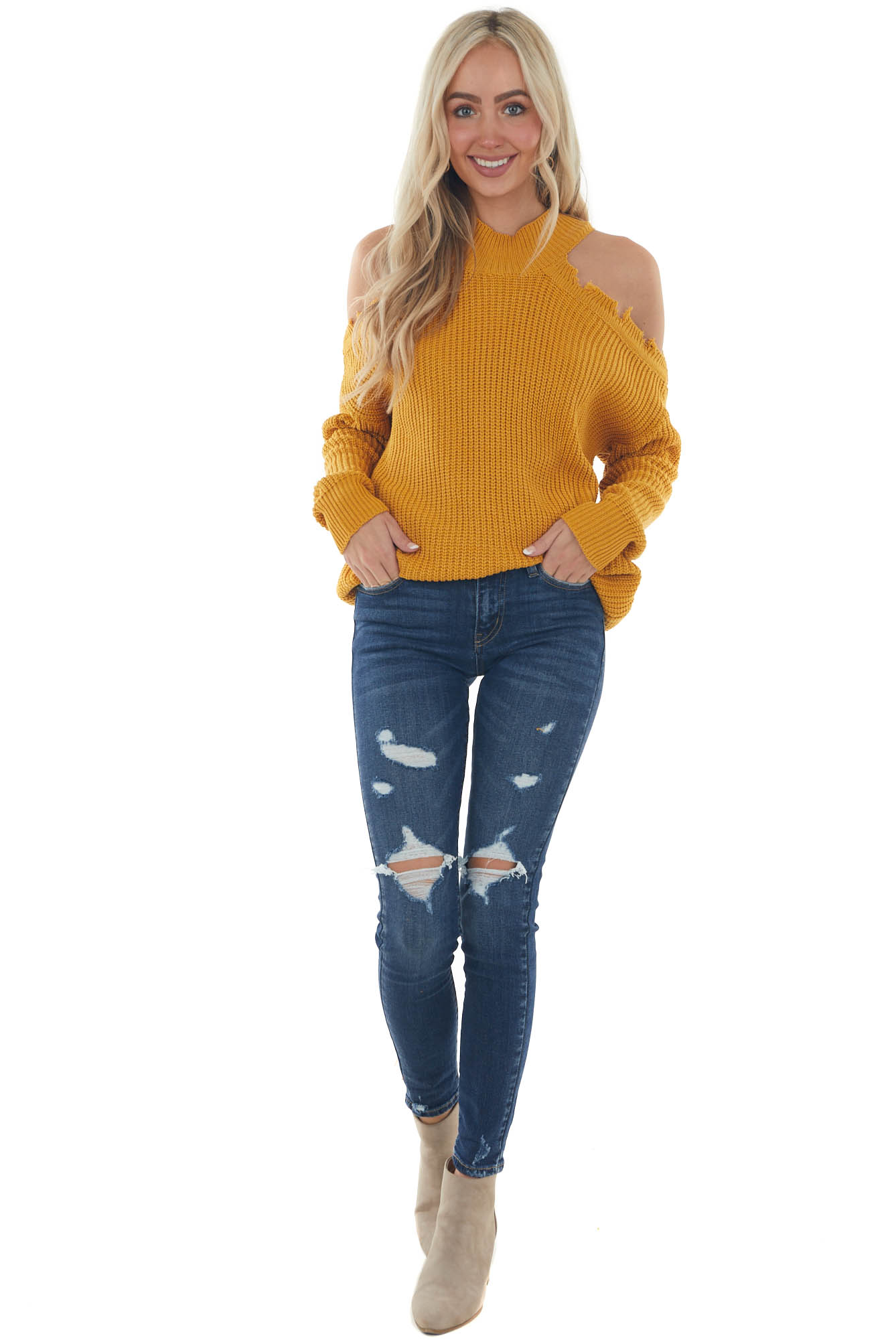 Mustard Distressed Knit Cold Shoulder Sweater