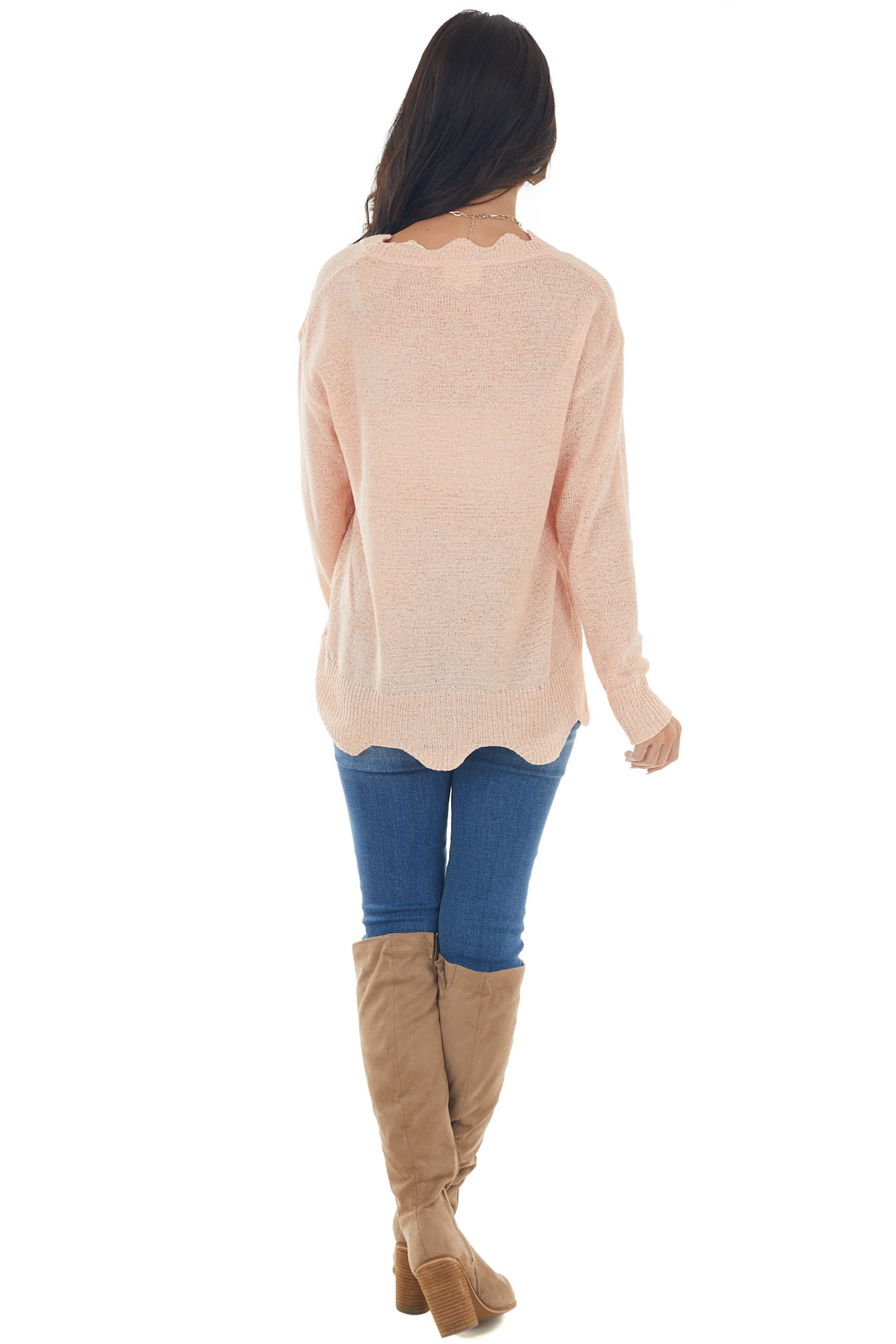 Peach V Neck Sweater with Scallop Details