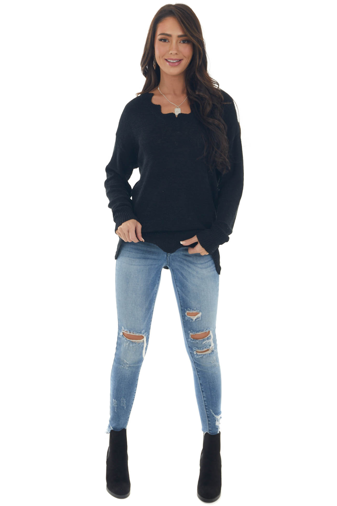 Black V Neck Sweater with Scallop Details