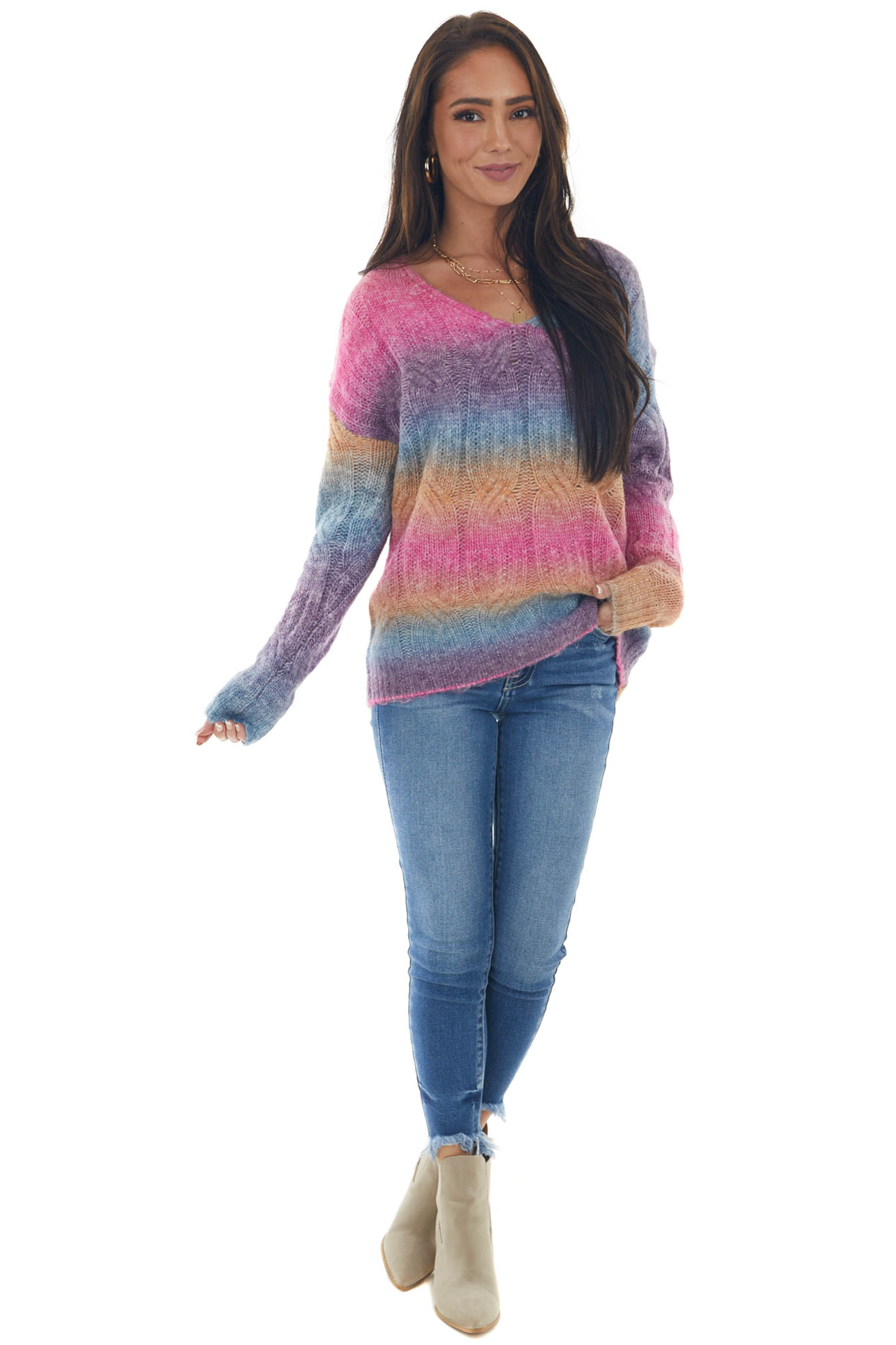 Magenta Multicolor Cable Knit Fuzzy Sweater